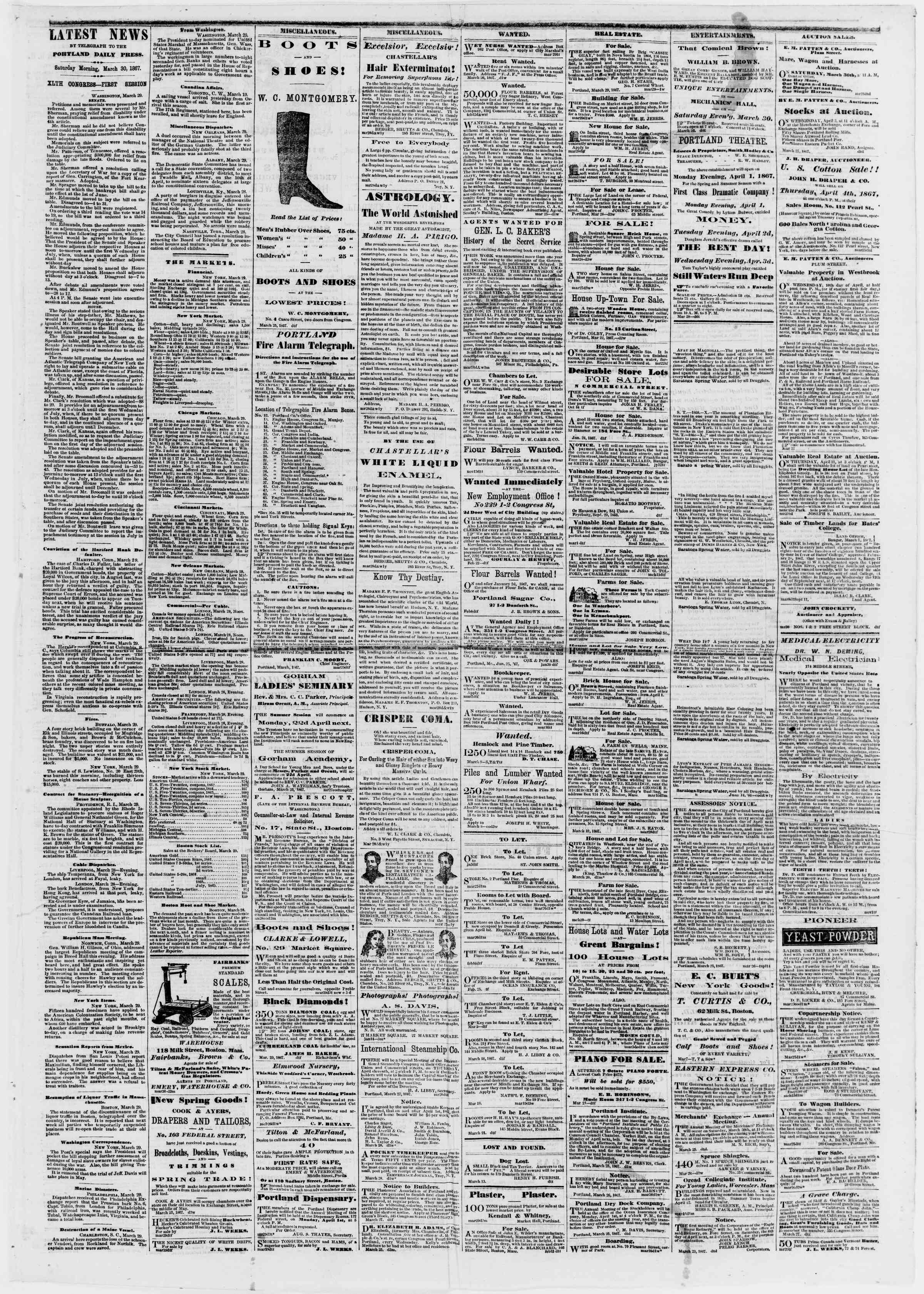 Newspaper of Portland Daily Press dated March 30, 1867 Page 3