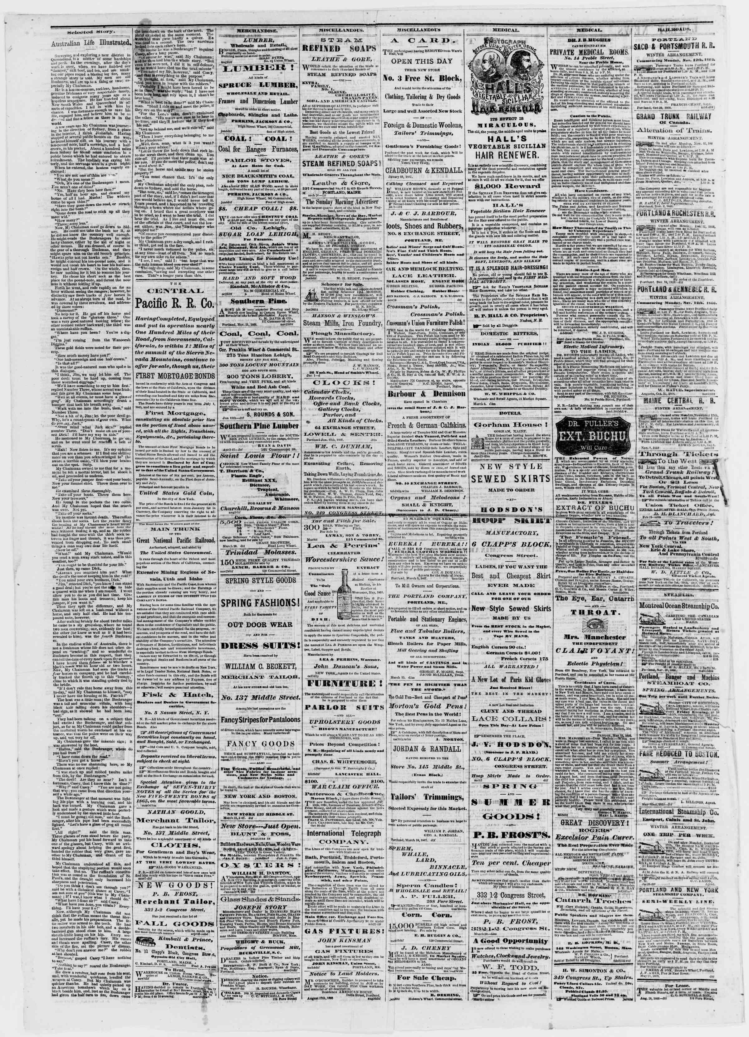 Newspaper of Portland Daily Press dated March 30, 1867 Page 4