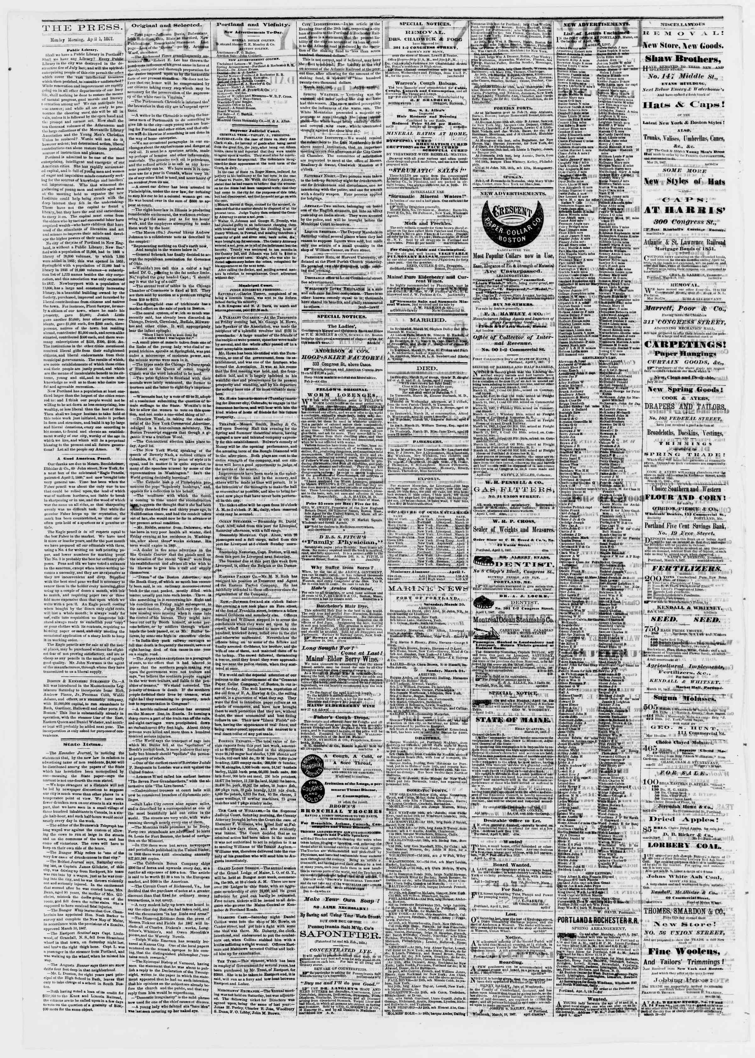 Newspaper of Portland Daily Press dated April 1, 1867 Page 2