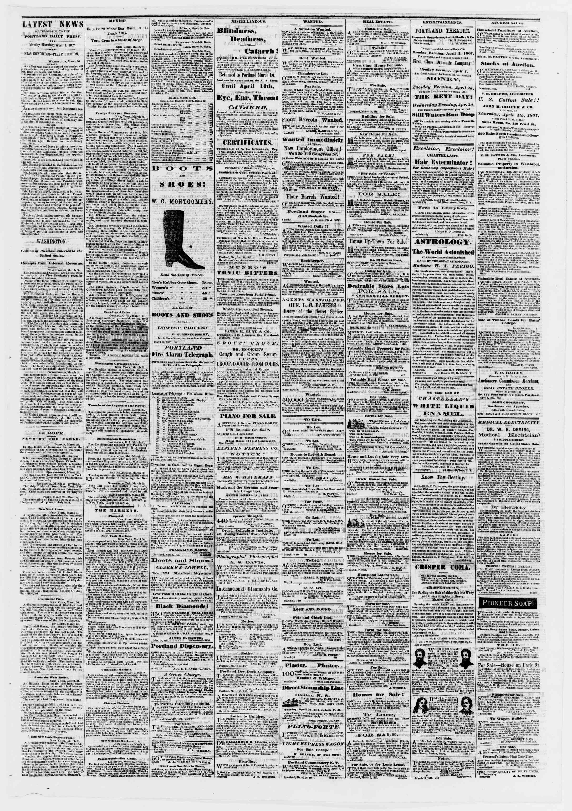 Newspaper of Portland Daily Press dated April 1, 1867 Page 3