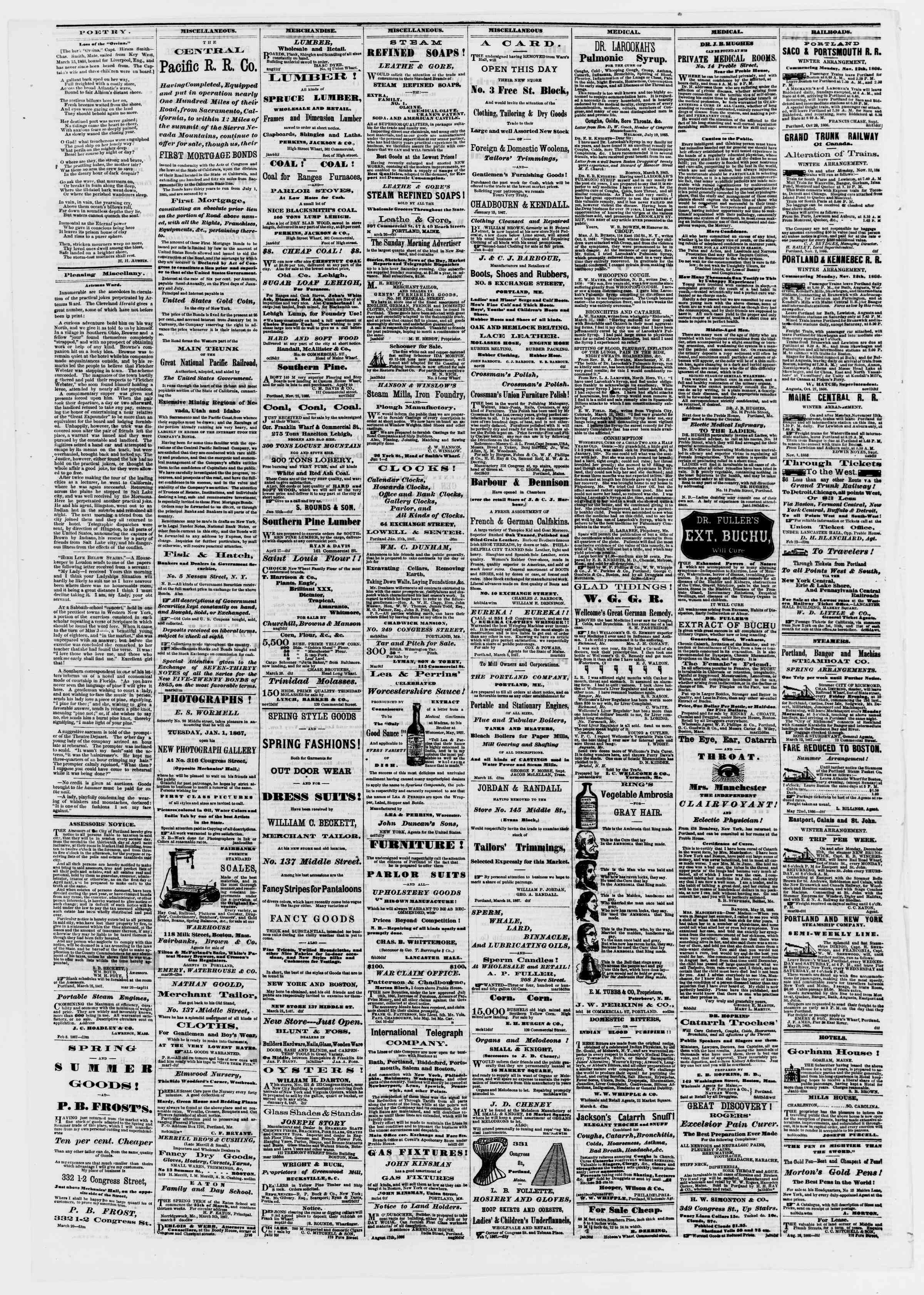 Newspaper of Portland Daily Press dated April 1, 1867 Page 4
