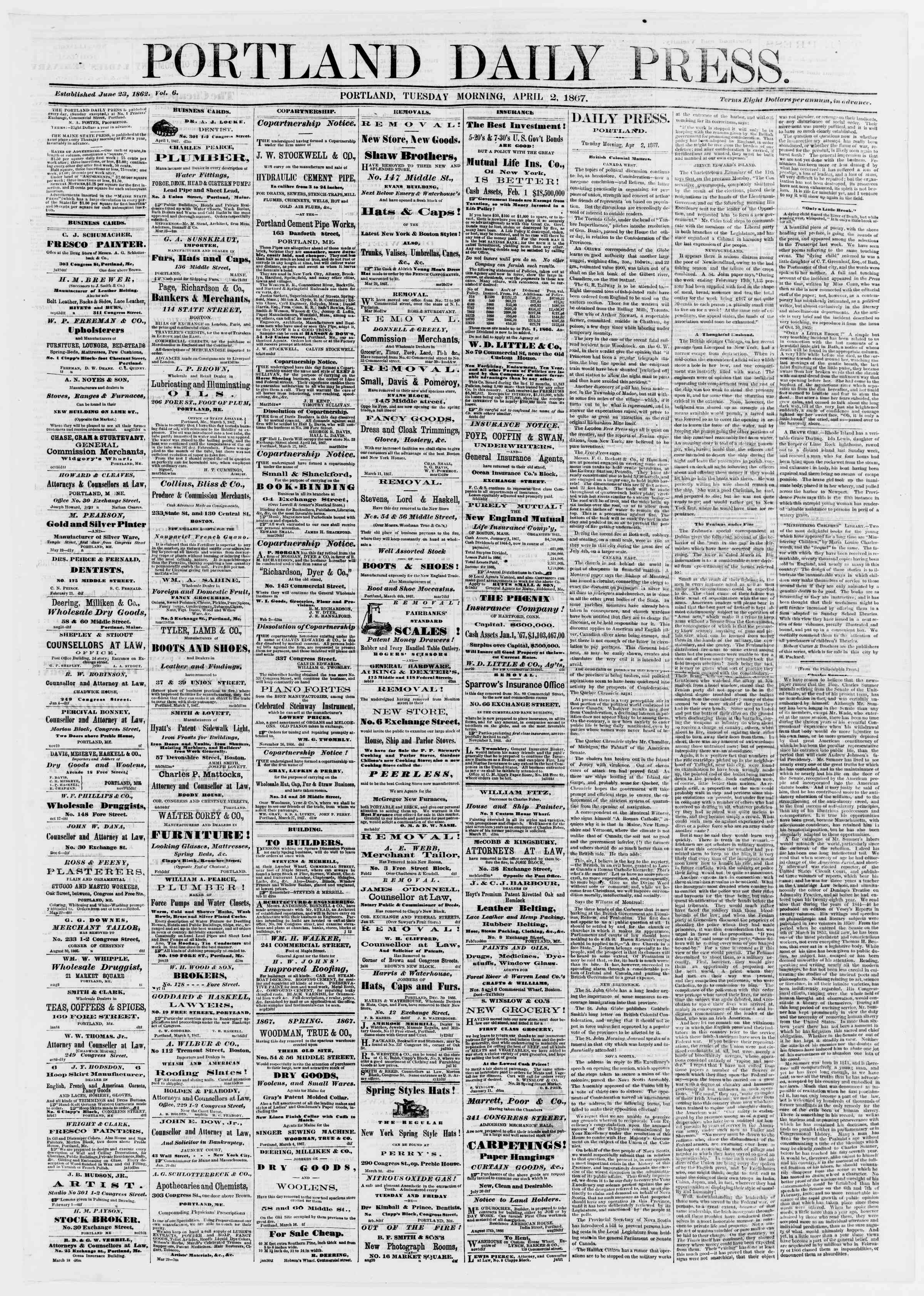 Newspaper of Portland Daily Press dated April 2, 1867 Page 1