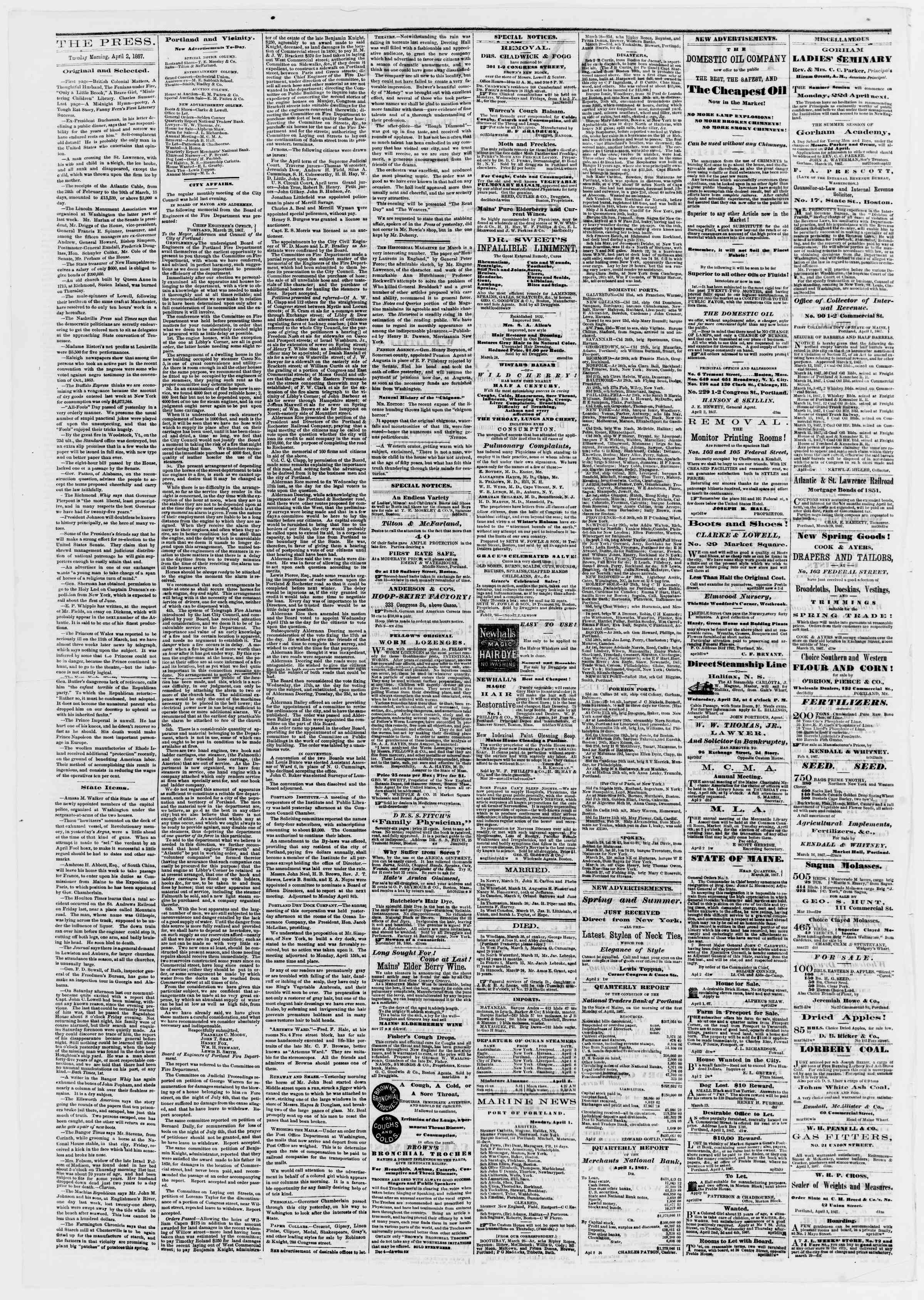 Newspaper of Portland Daily Press dated April 2, 1867 Page 2