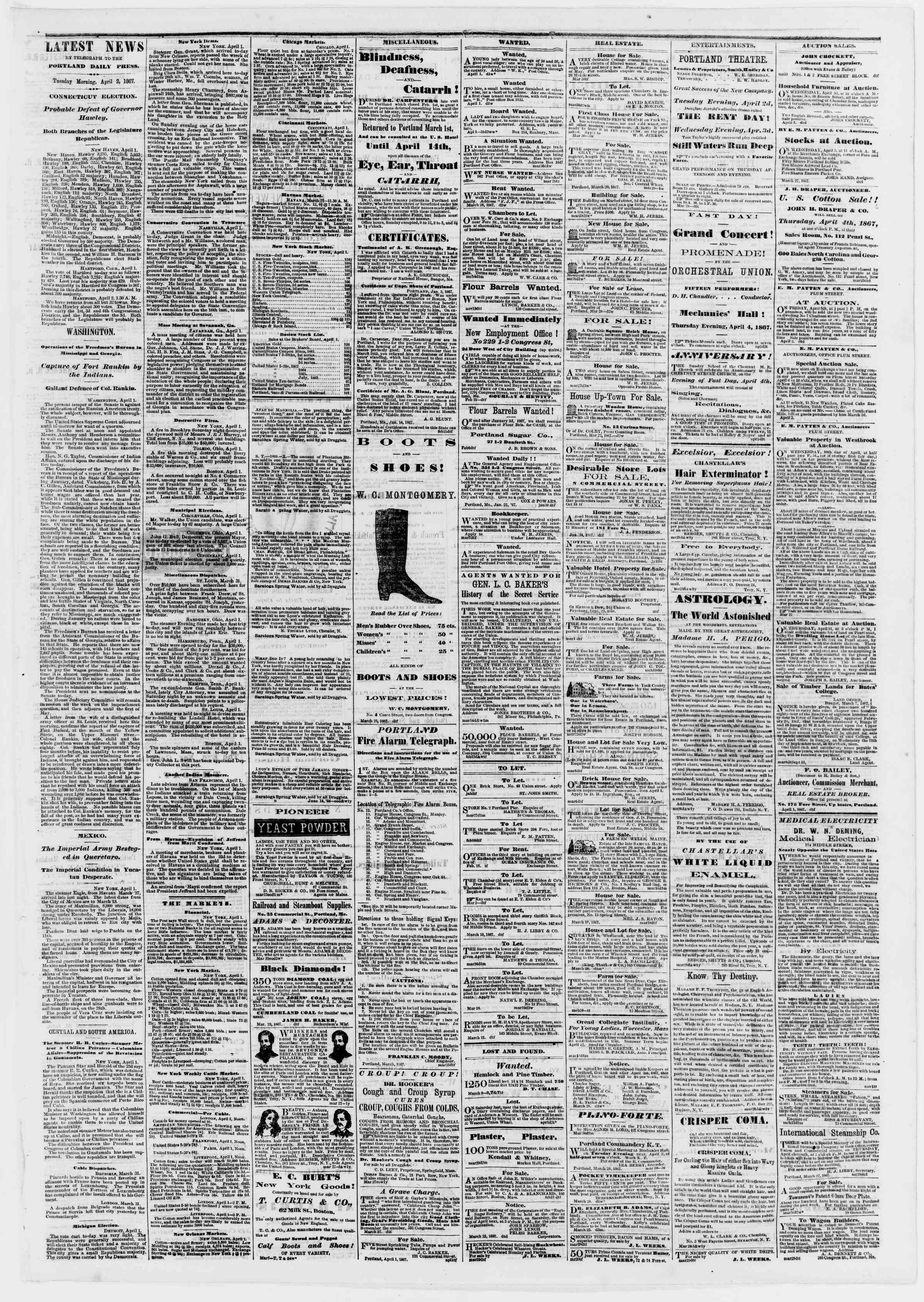 Newspaper of Portland Daily Press dated April 2, 1867 Page 3