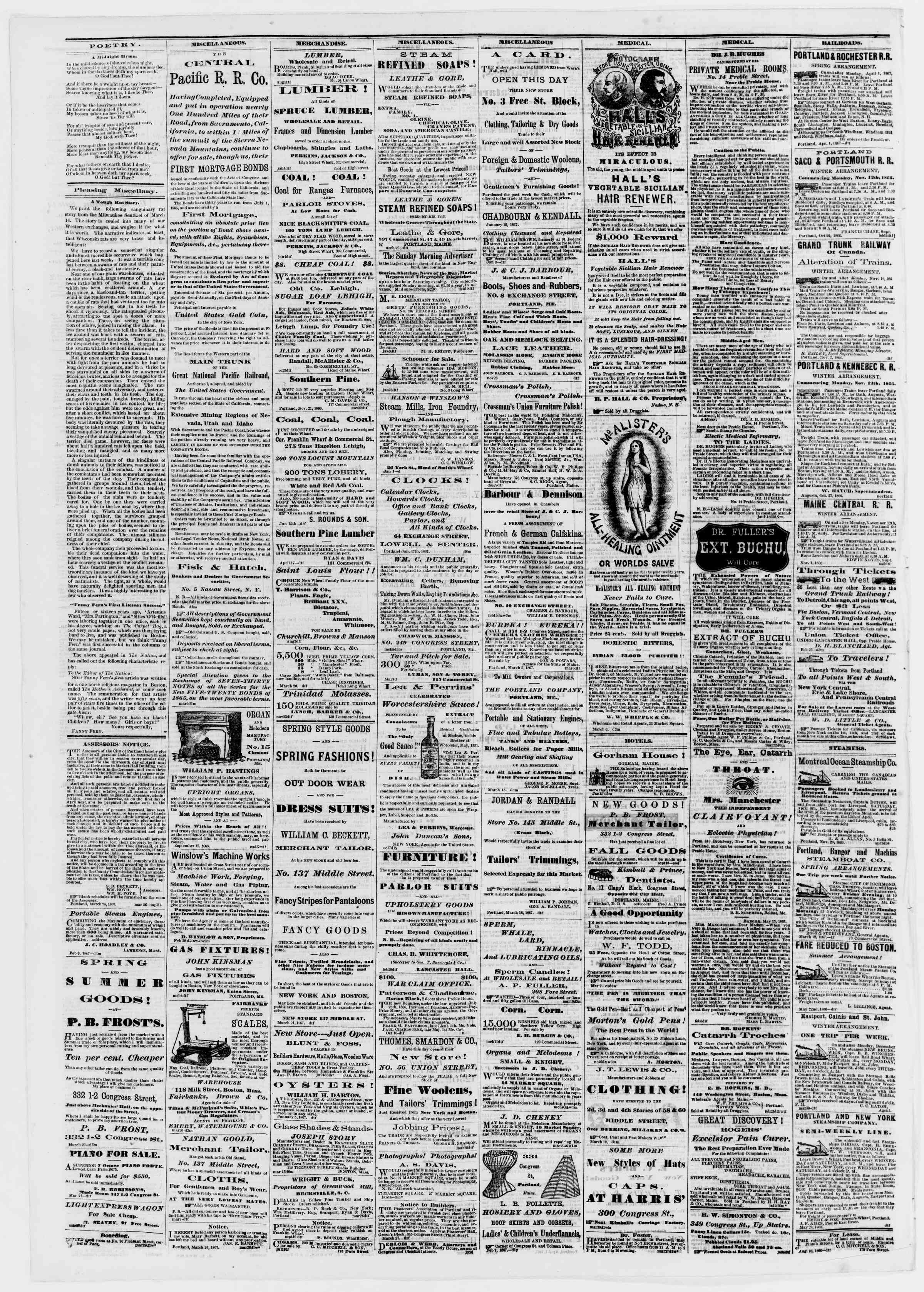 Newspaper of Portland Daily Press dated April 2, 1867 Page 4