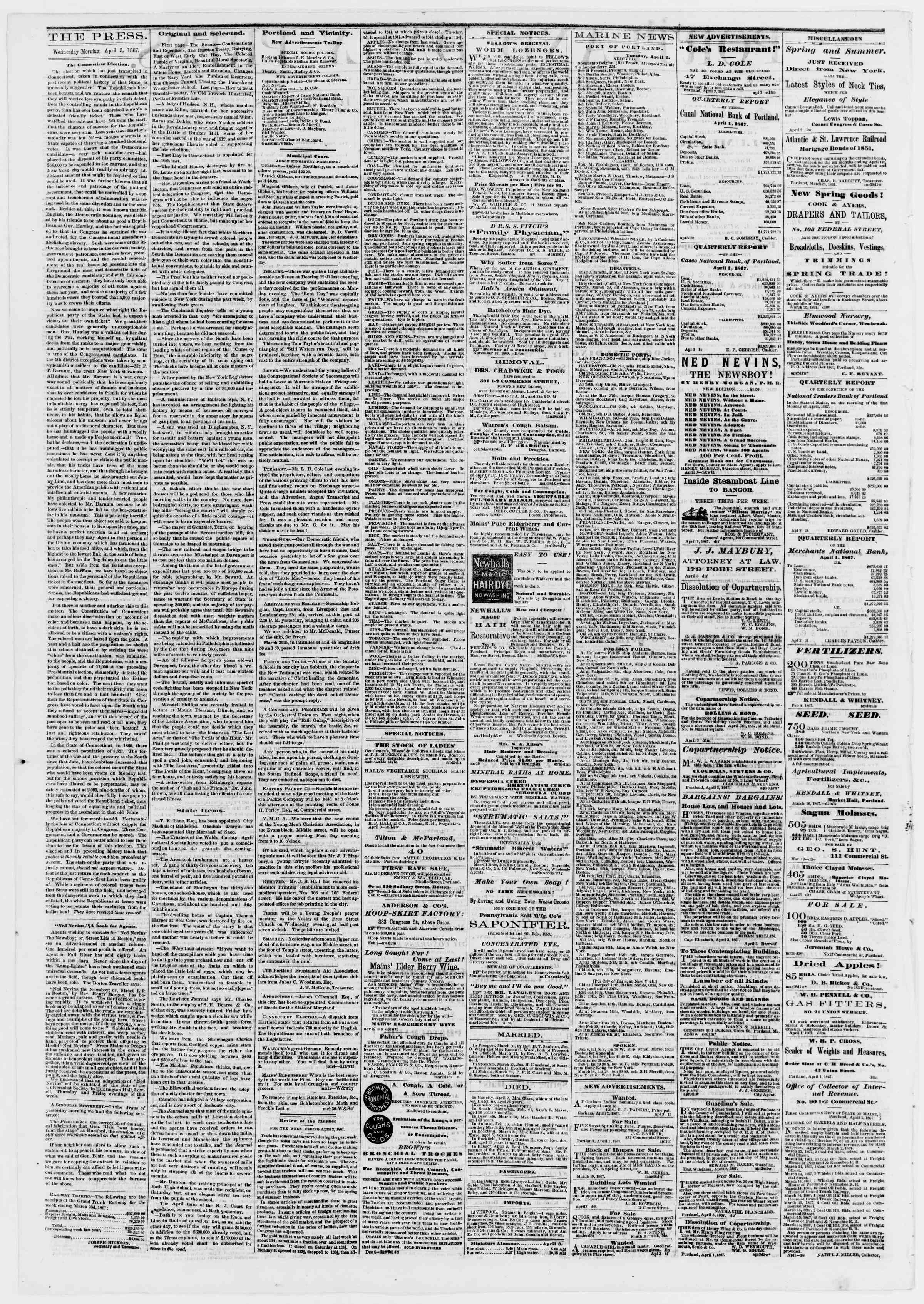 Newspaper of Portland Daily Press dated April 3, 1867 Page 2