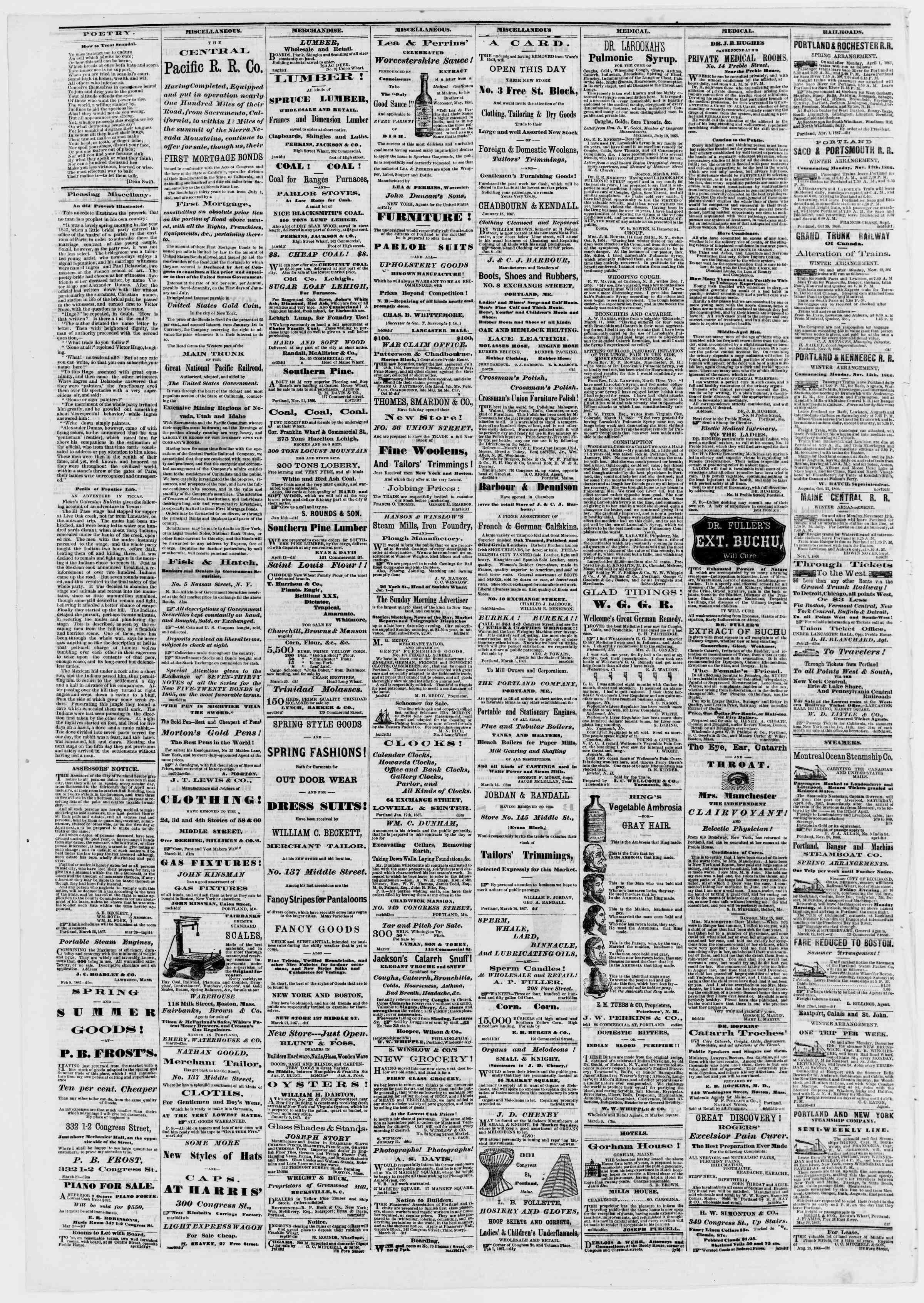Newspaper of Portland Daily Press dated April 3, 1867 Page 4