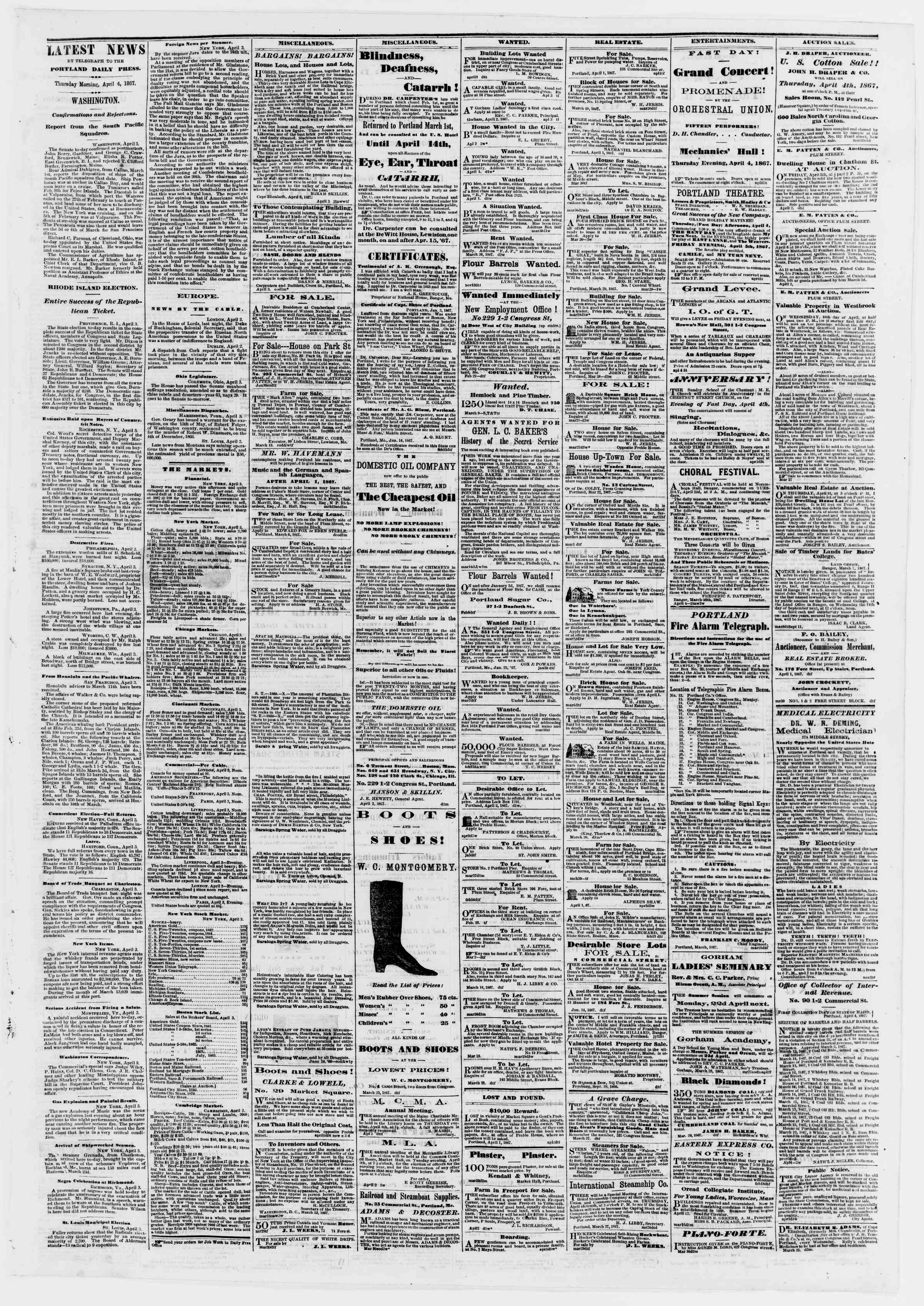 Newspaper of Portland Daily Press dated April 4, 1867 Page 3