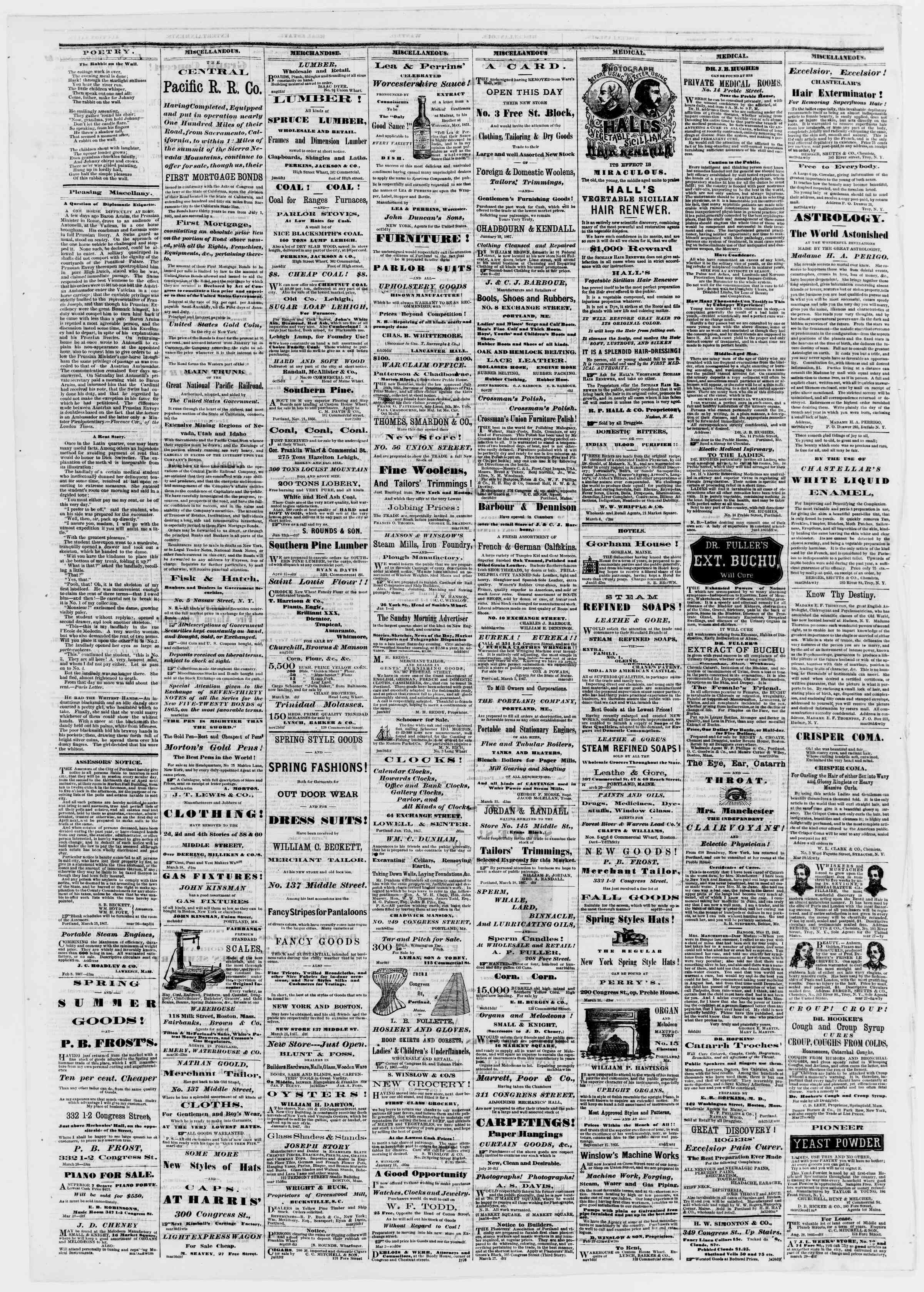 Newspaper of Portland Daily Press dated April 4, 1867 Page 4