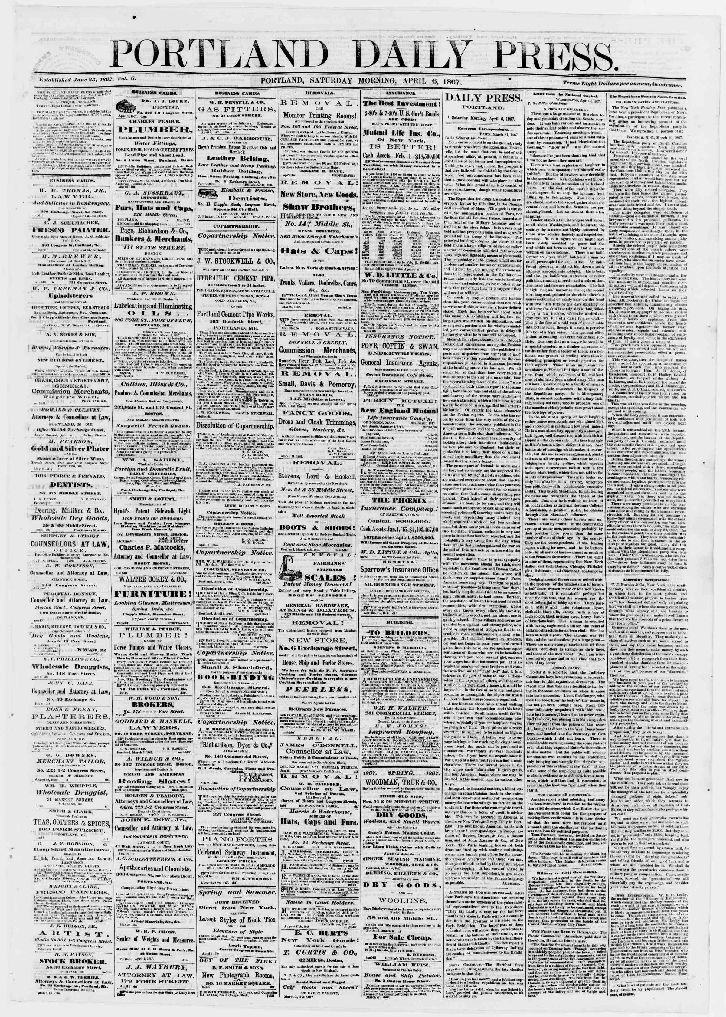 Newspaper of Portland Daily Press dated April 6, 1867 Page 1