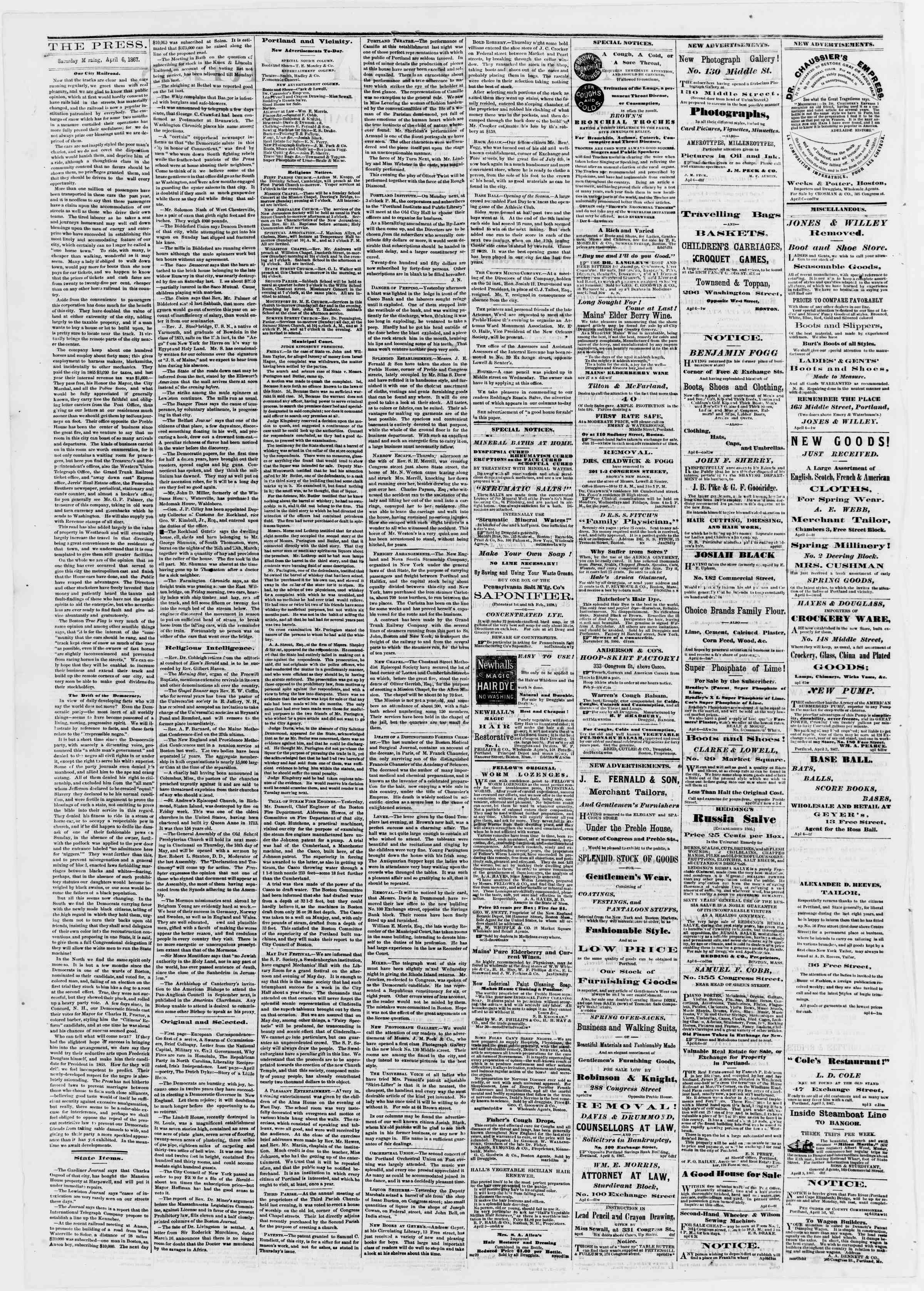 Newspaper of Portland Daily Press dated April 6, 1867 Page 2