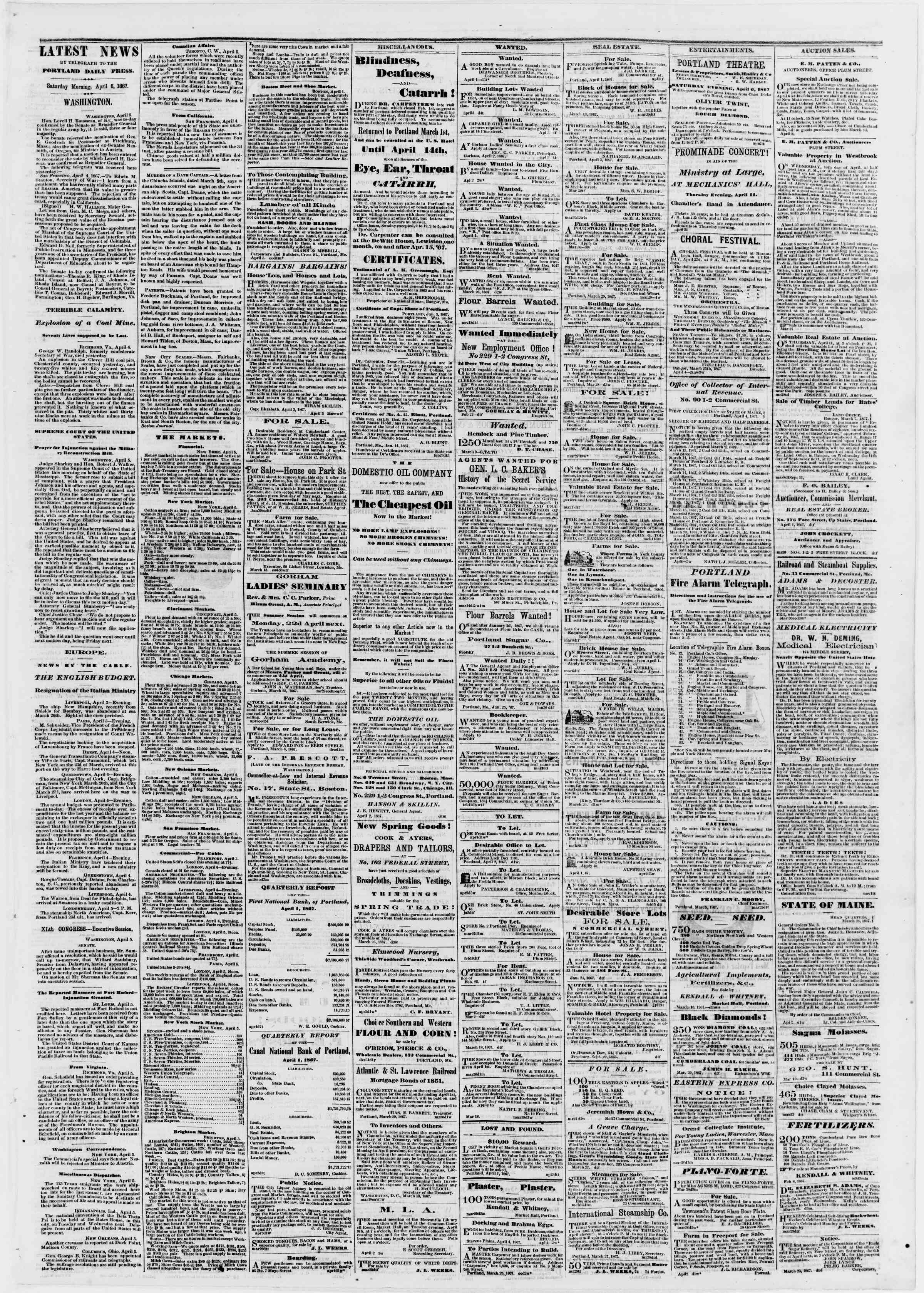 Newspaper of Portland Daily Press dated April 6, 1867 Page 3