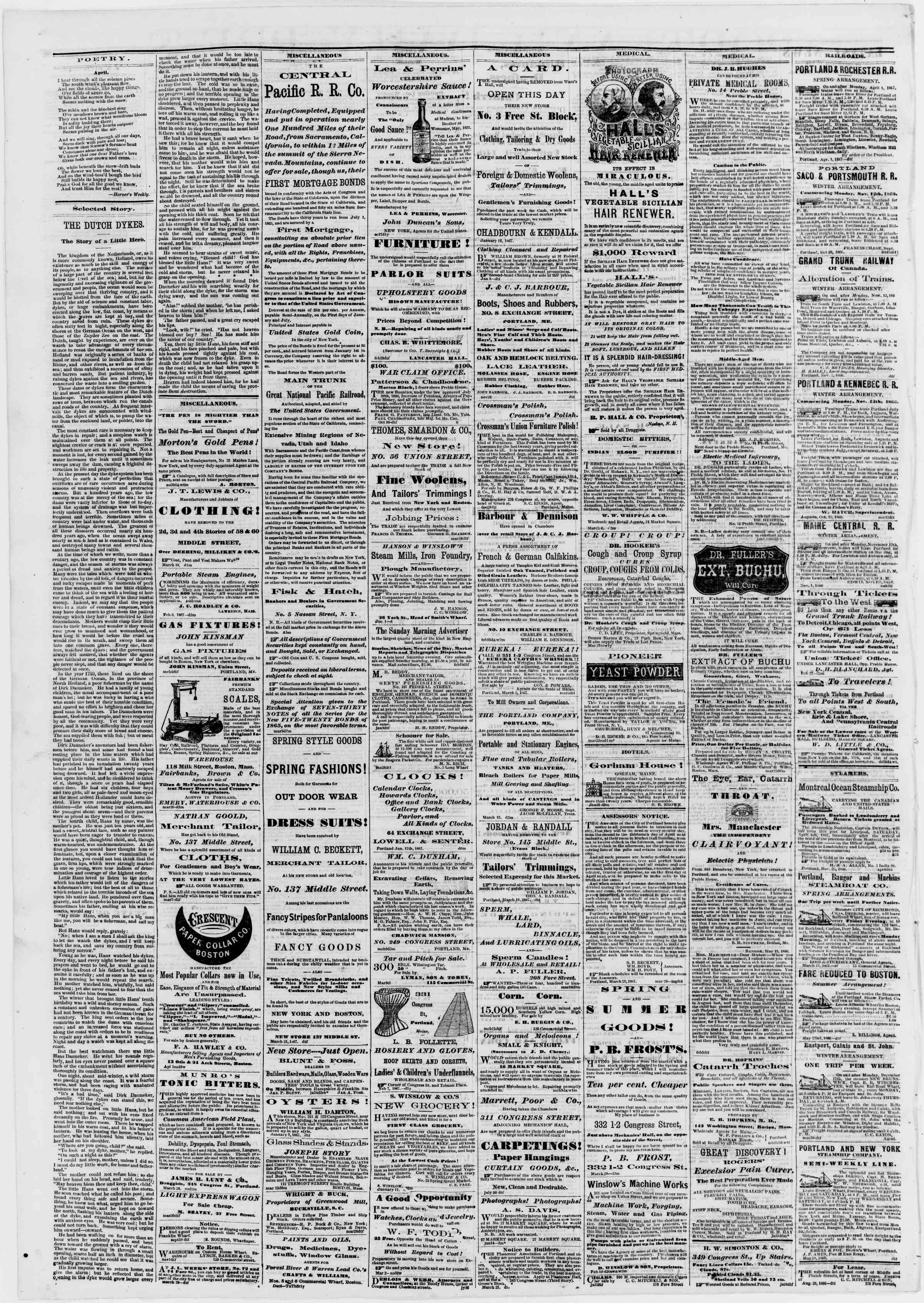 Newspaper of Portland Daily Press dated 6 Nisan 1867 Page 4