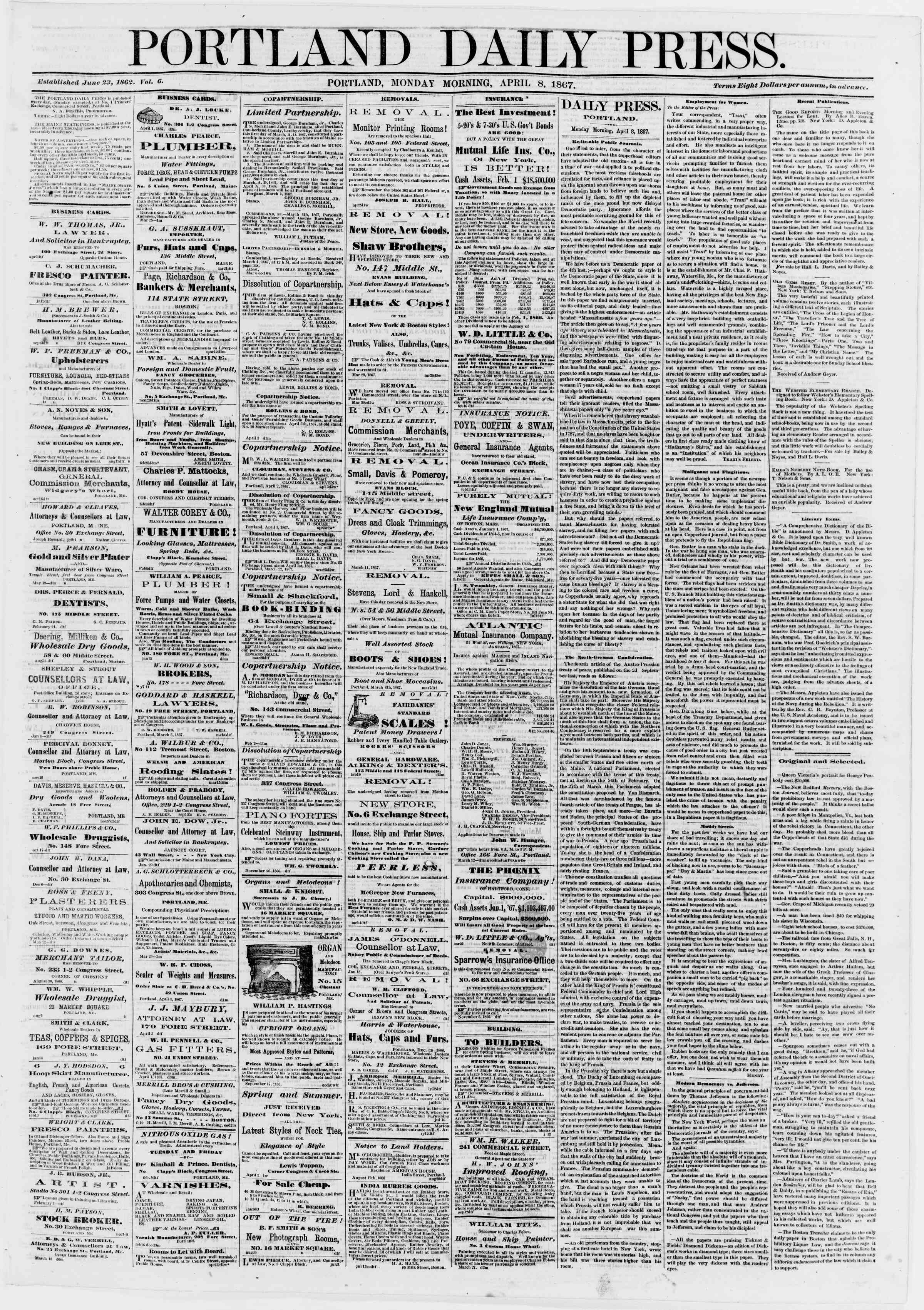 Newspaper of Portland Daily Press dated April 8, 1867 Page 1