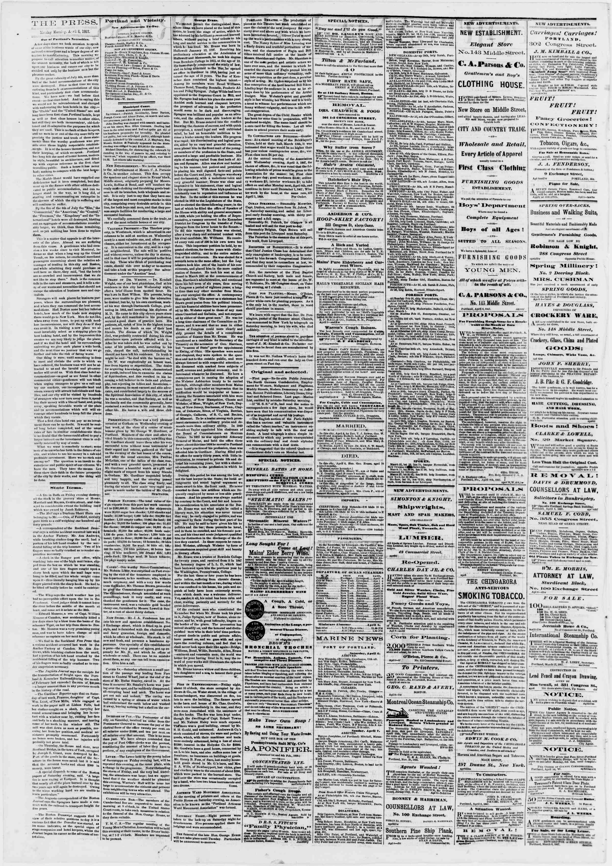 Newspaper of Portland Daily Press dated April 8, 1867 Page 2