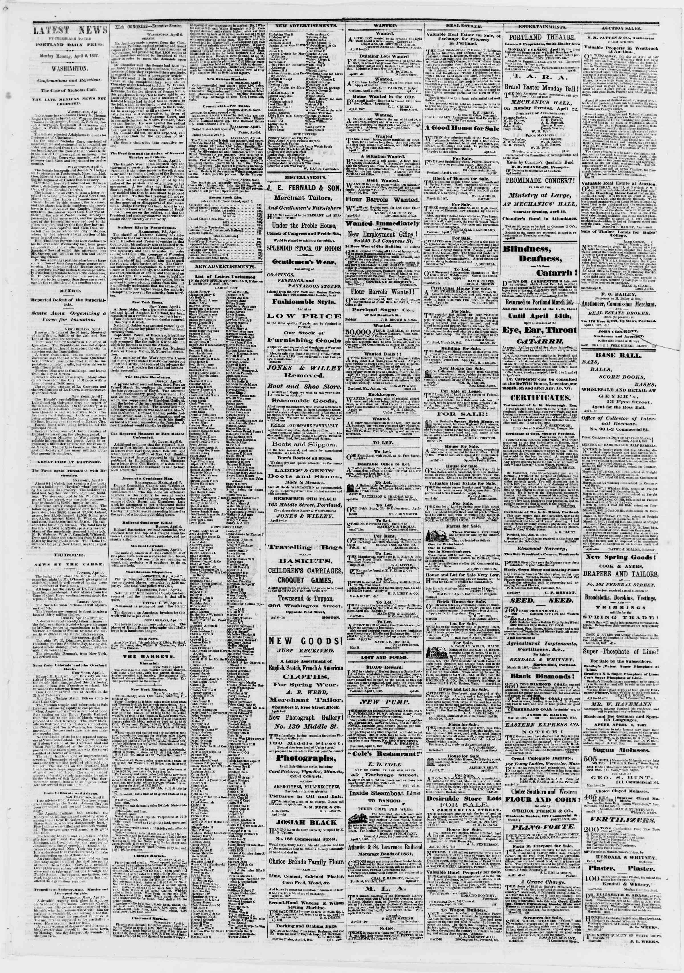 Newspaper of Portland Daily Press dated April 8, 1867 Page 3