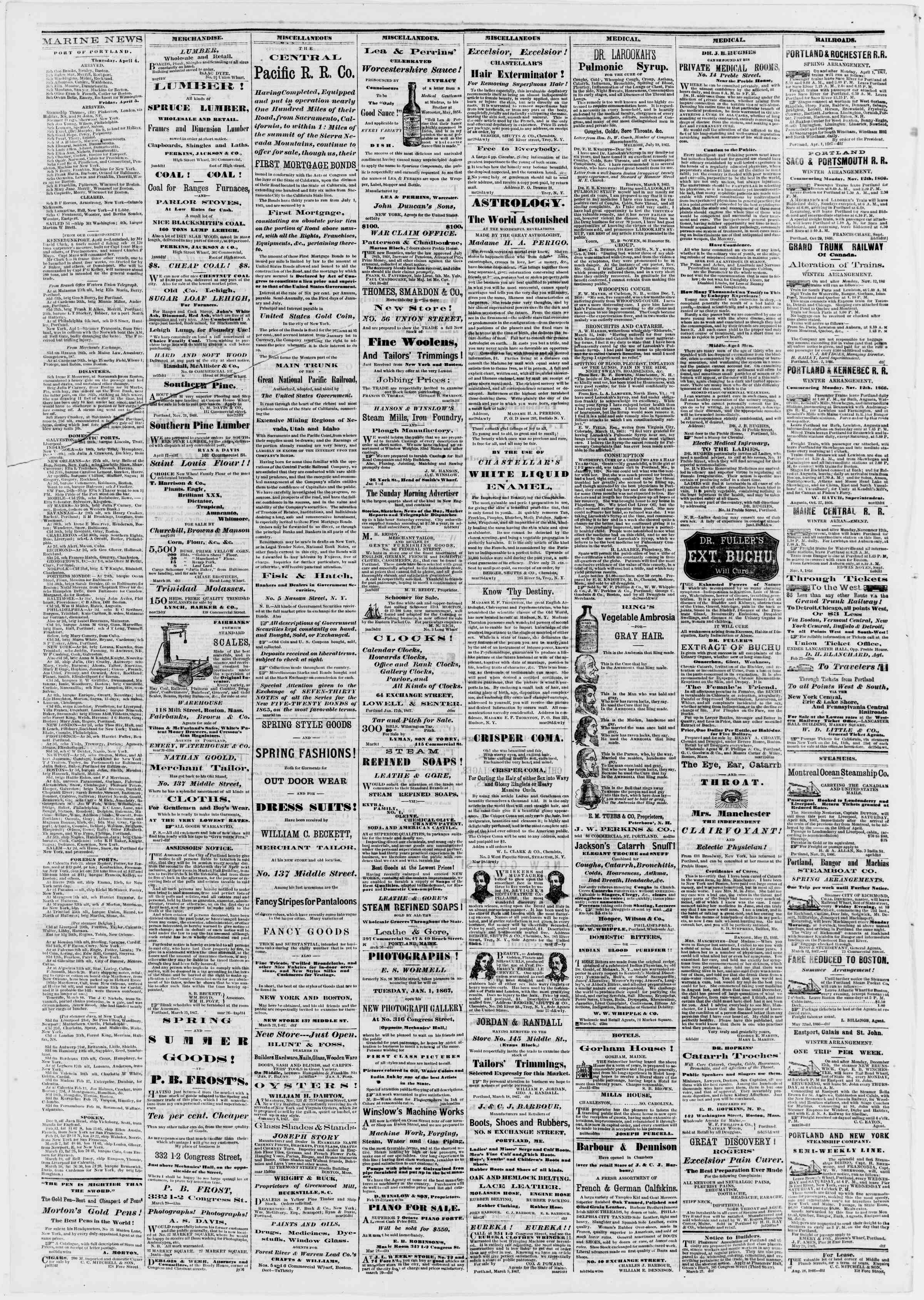 Newspaper of Portland Daily Press dated April 8, 1867 Page 4