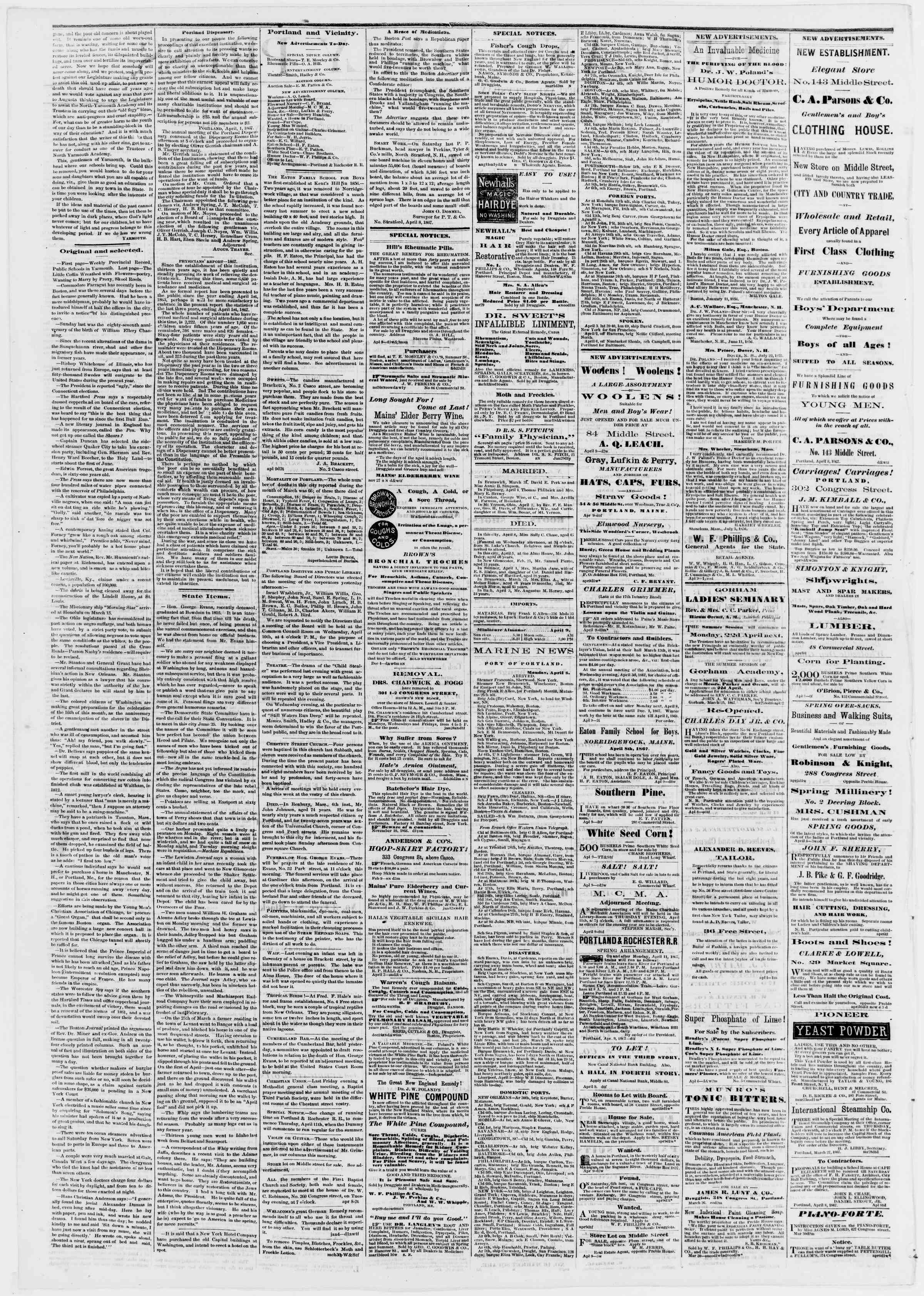 Newspaper of Portland Daily Press dated April 9, 1867 Page 2