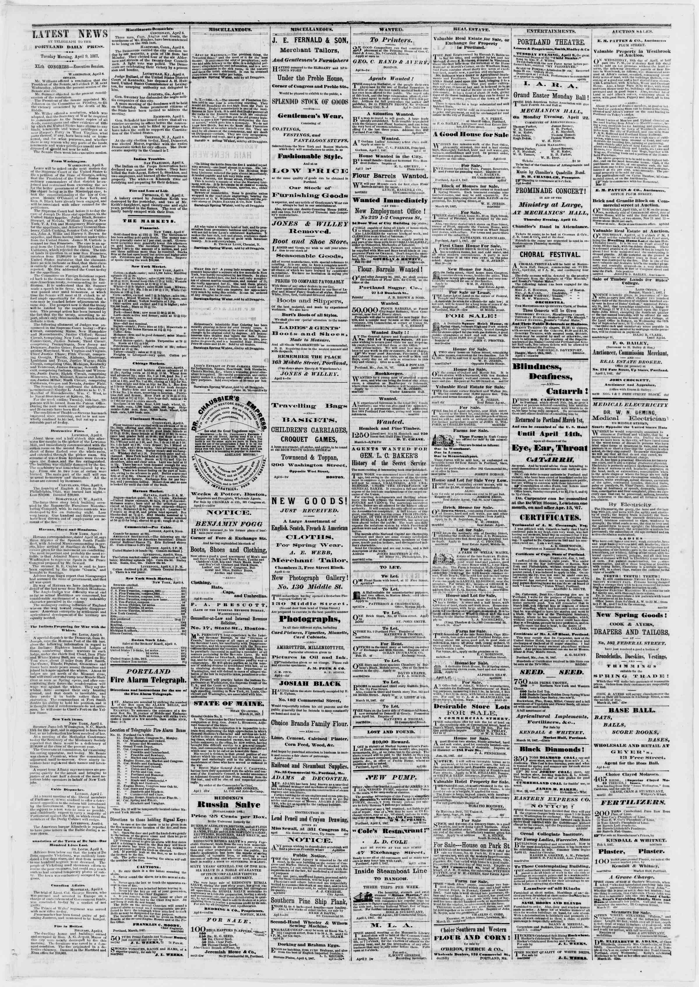 Newspaper of Portland Daily Press dated April 9, 1867 Page 3