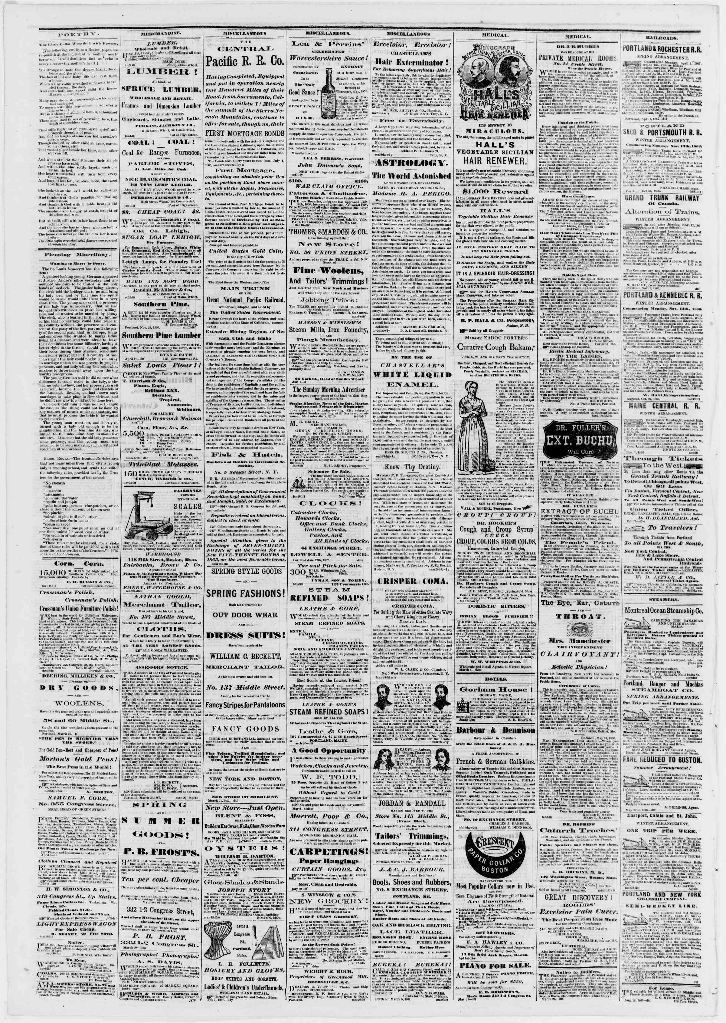 Newspaper of Portland Daily Press dated April 9, 1867 Page 4