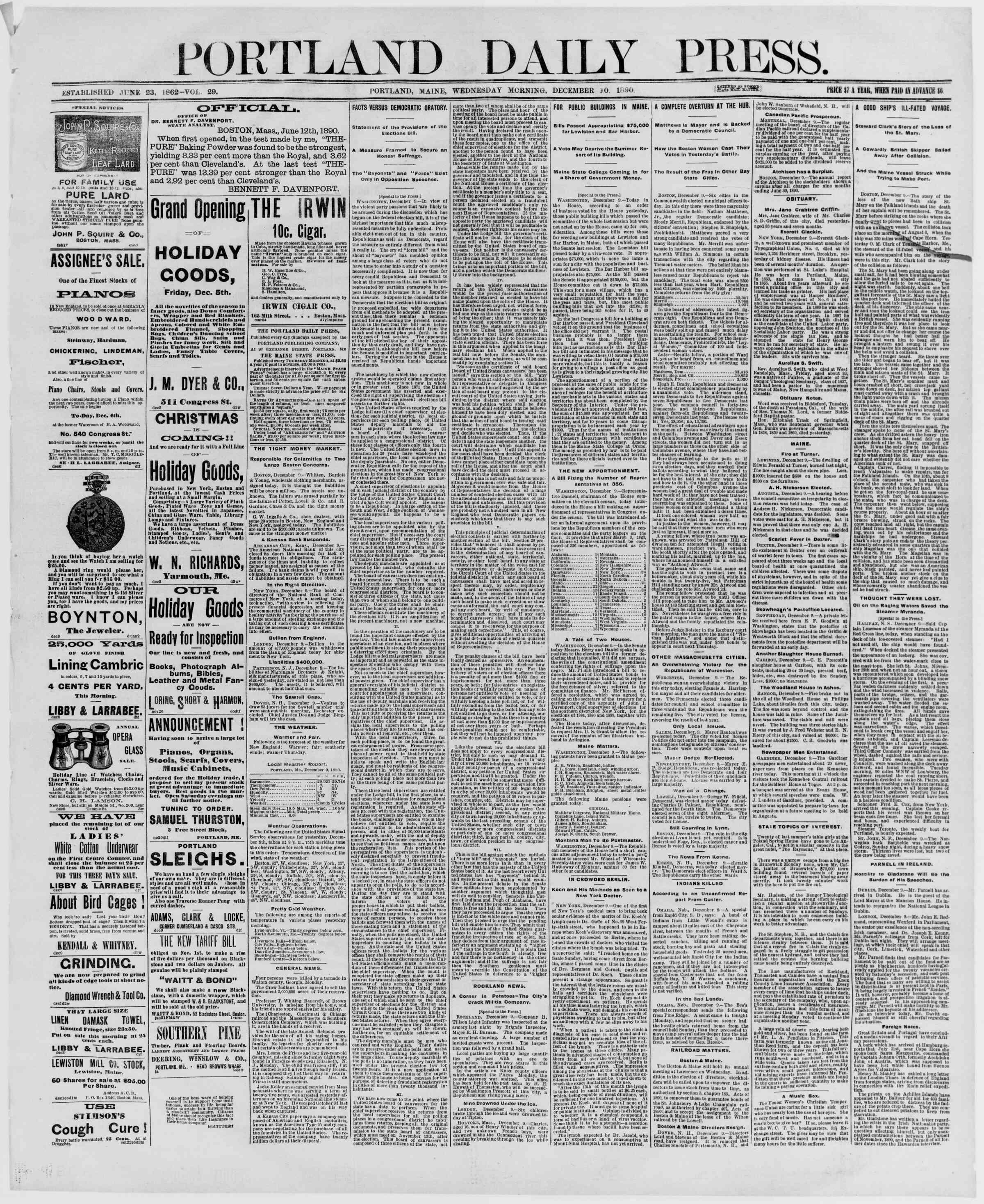 10 Aralık 1890 Tarihli Portland Daily Press Gazetesi Sayfa 1