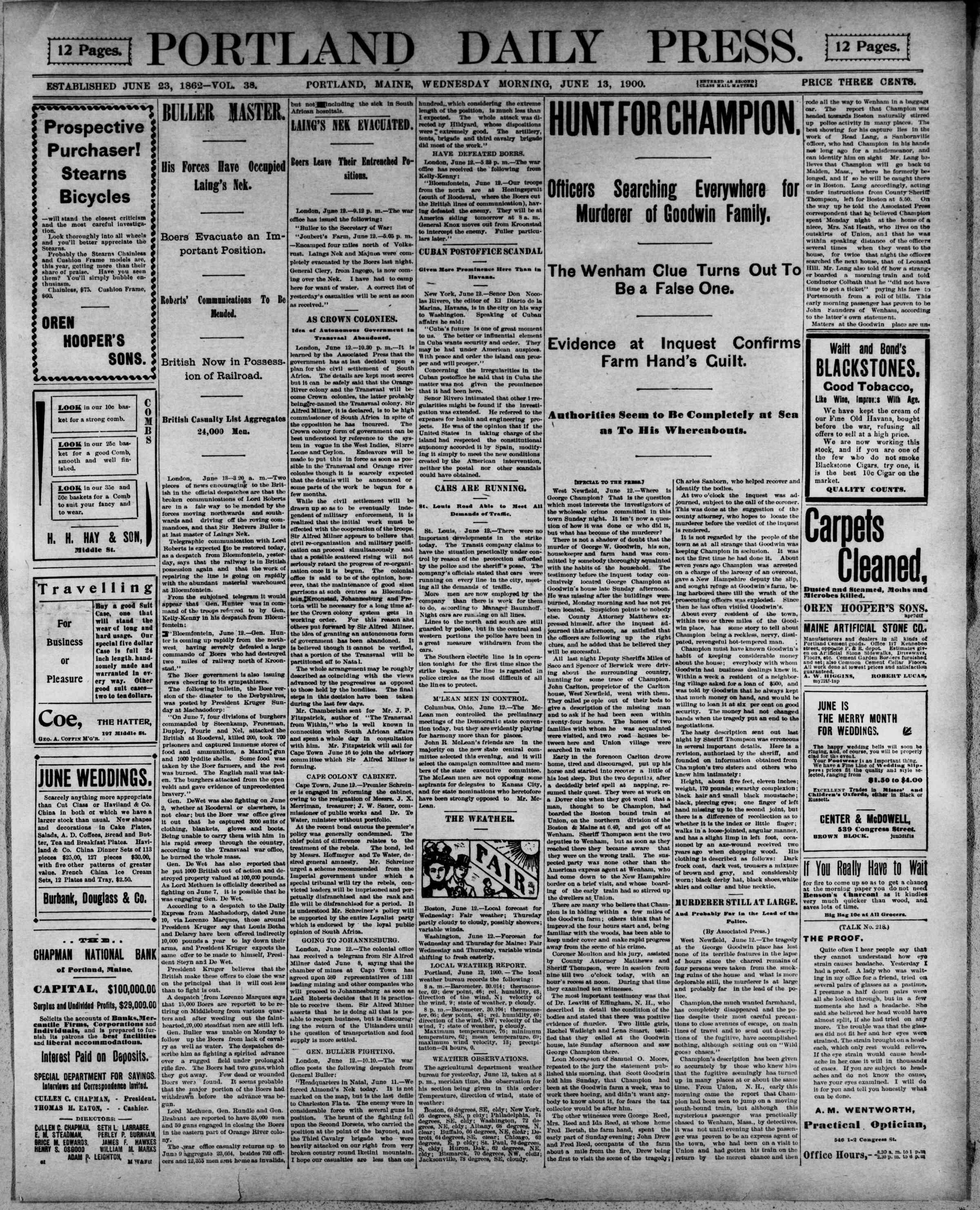13 Haziran 1900 Tarihli Portland Daily Press Gazetesi Sayfa 1