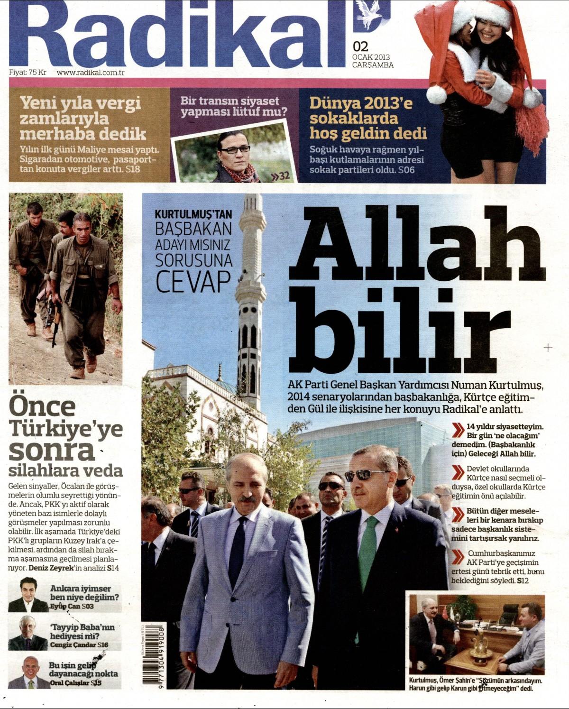 2 Ocak 2013 Tarihli Radikal Gazetesi Sayfa 1