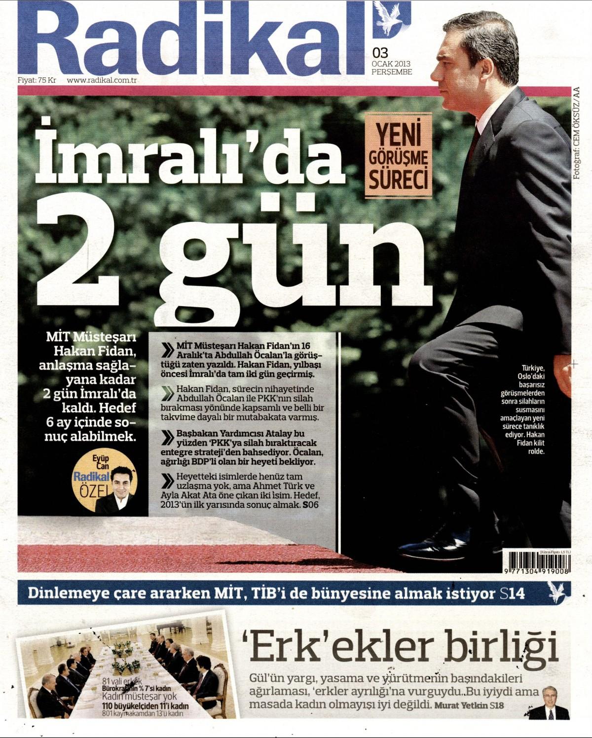 3 Ocak 2013 Tarihli Radikal Gazetesi Sayfa 1