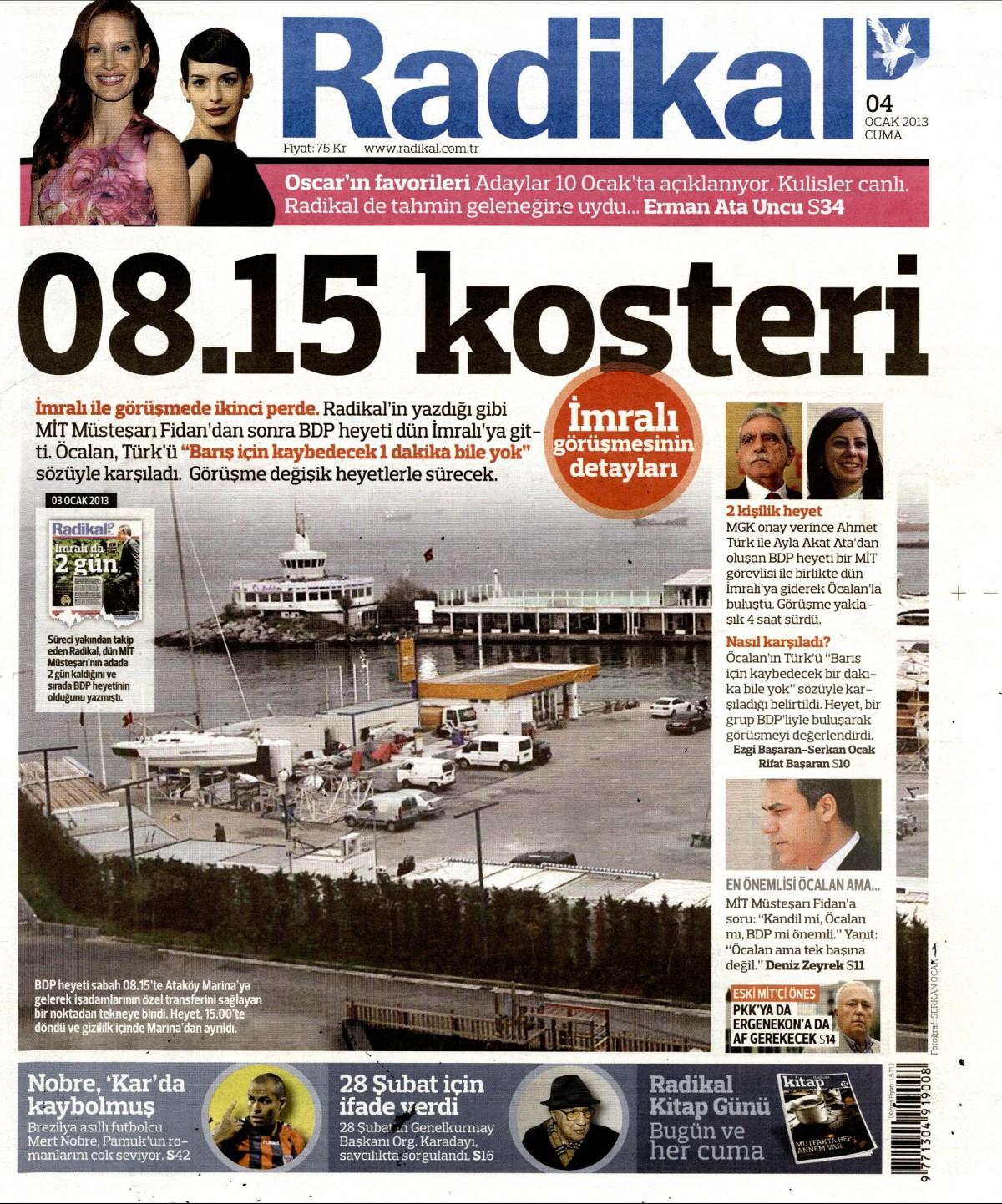 4 Ocak 2013 Tarihli Radikal Gazetesi Sayfa 1