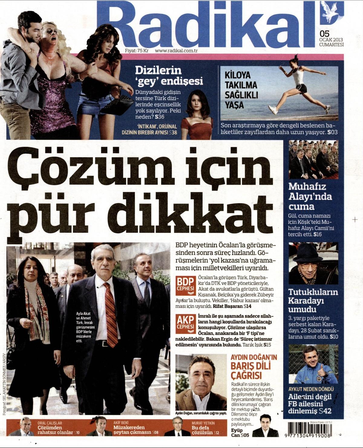 5 Ocak 2013 Tarihli Radikal Gazetesi Sayfa 1