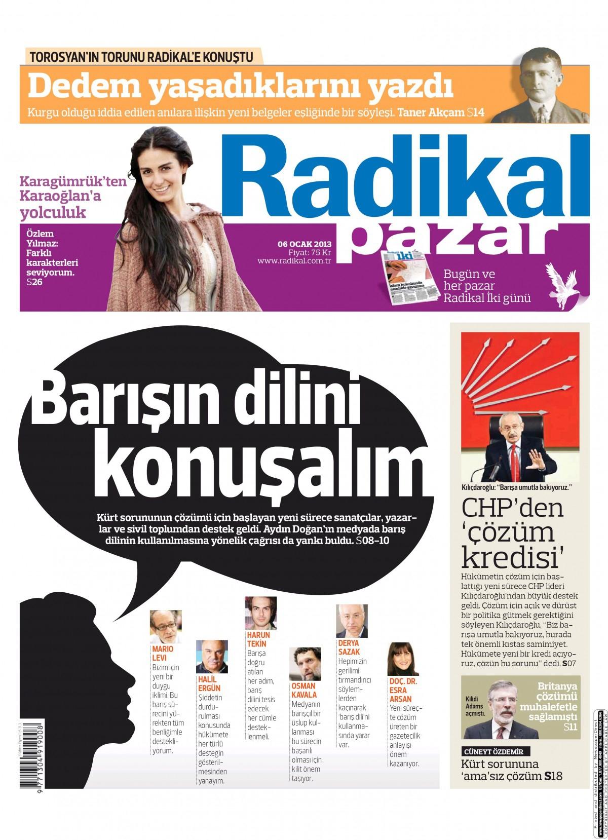 6 Ocak 2013 Tarihli Radikal Gazetesi Sayfa 1