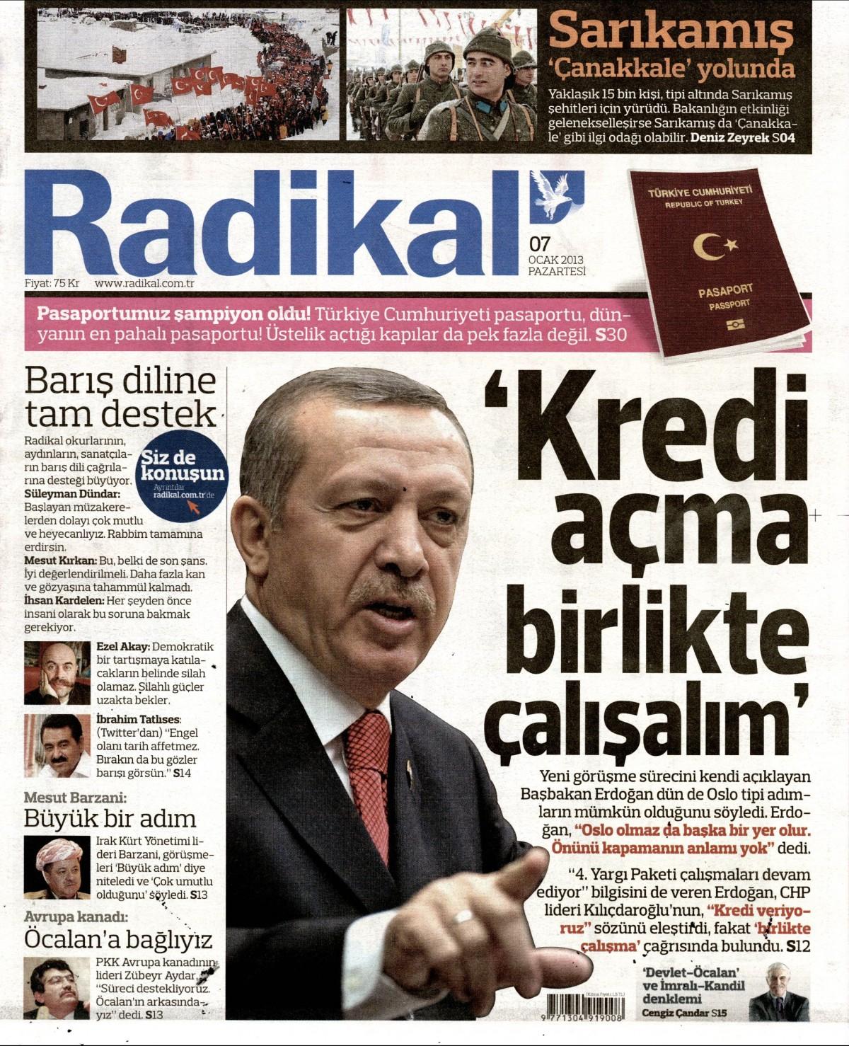 7 Ocak 2013 Tarihli Radikal Gazetesi Sayfa 1