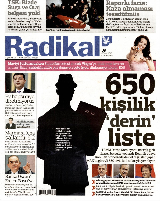 9 Ocak 2013 Tarihli Radikal Gazetesi Sayfa 1