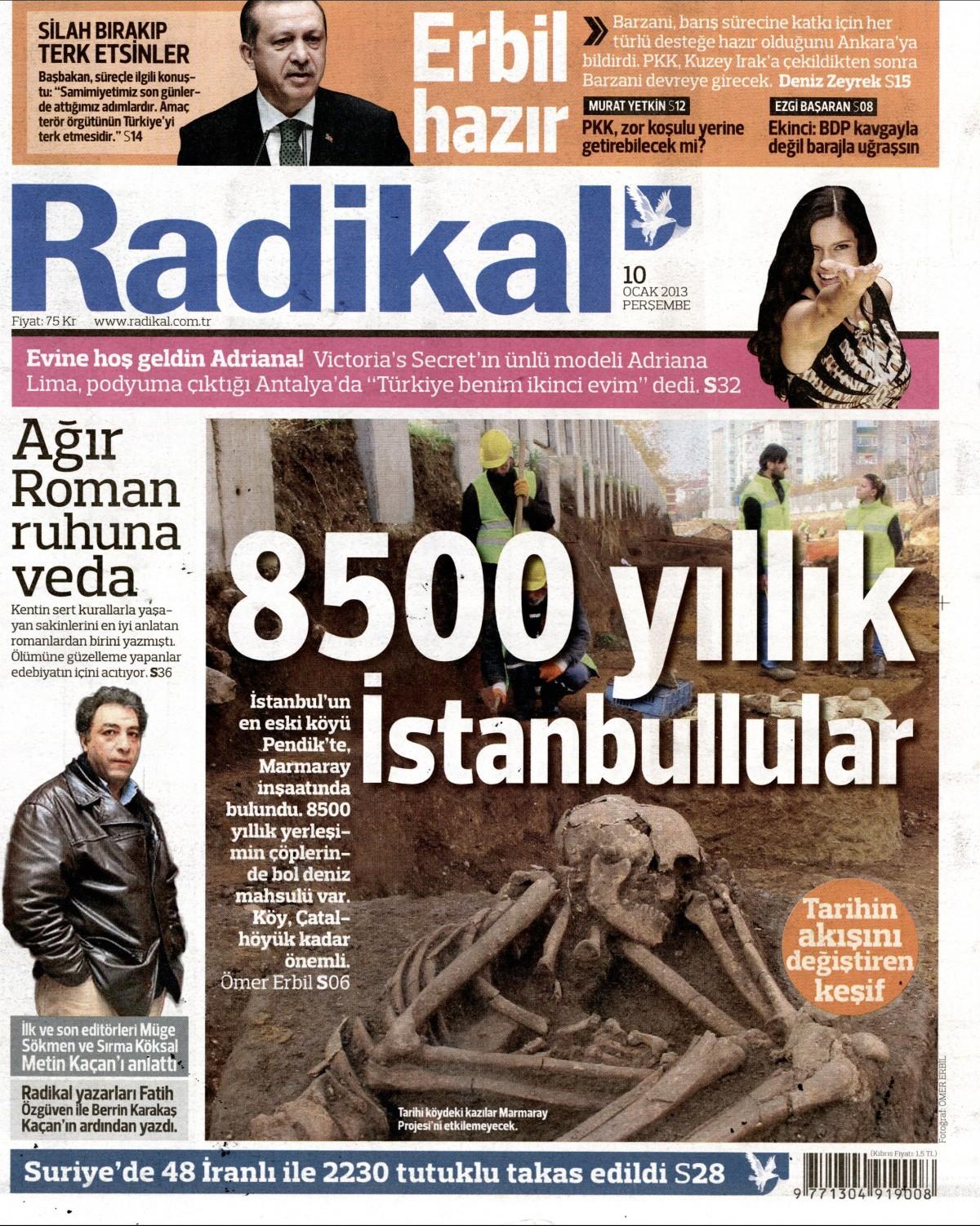 10 Ocak 2013 Tarihli Radikal Gazetesi Sayfa 1