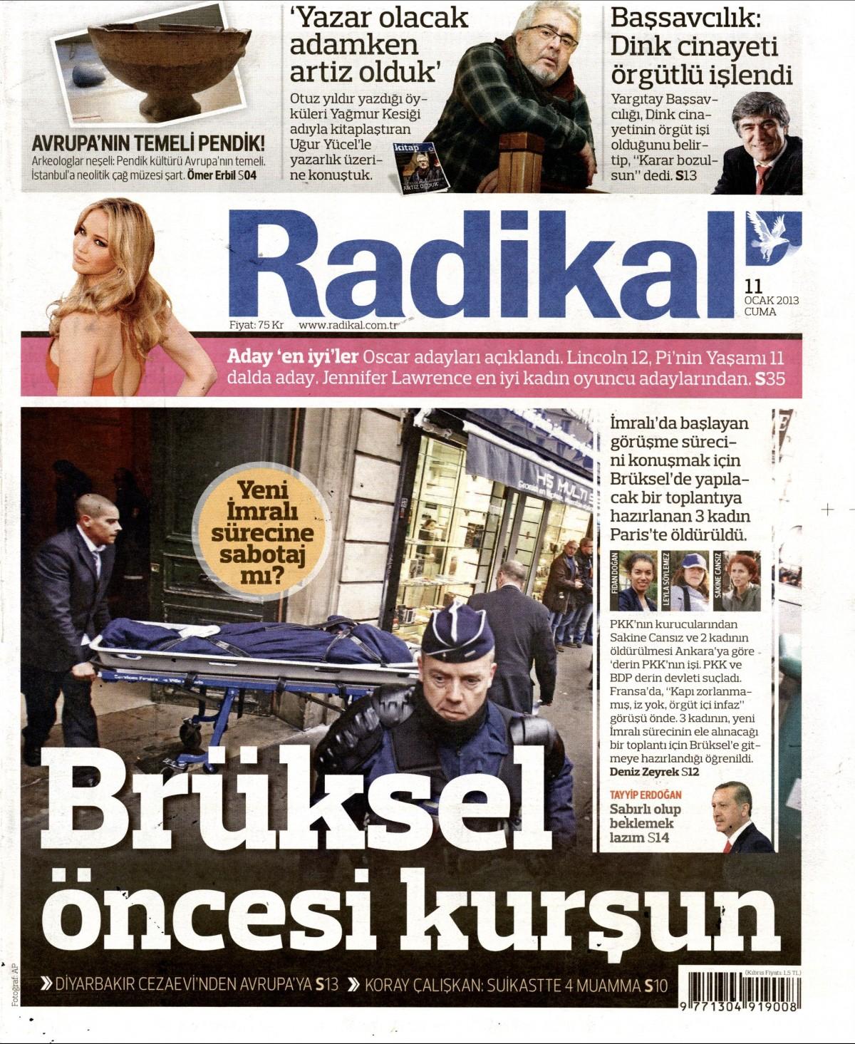 11 Ocak 2013 Tarihli Radikal Gazetesi Sayfa 1