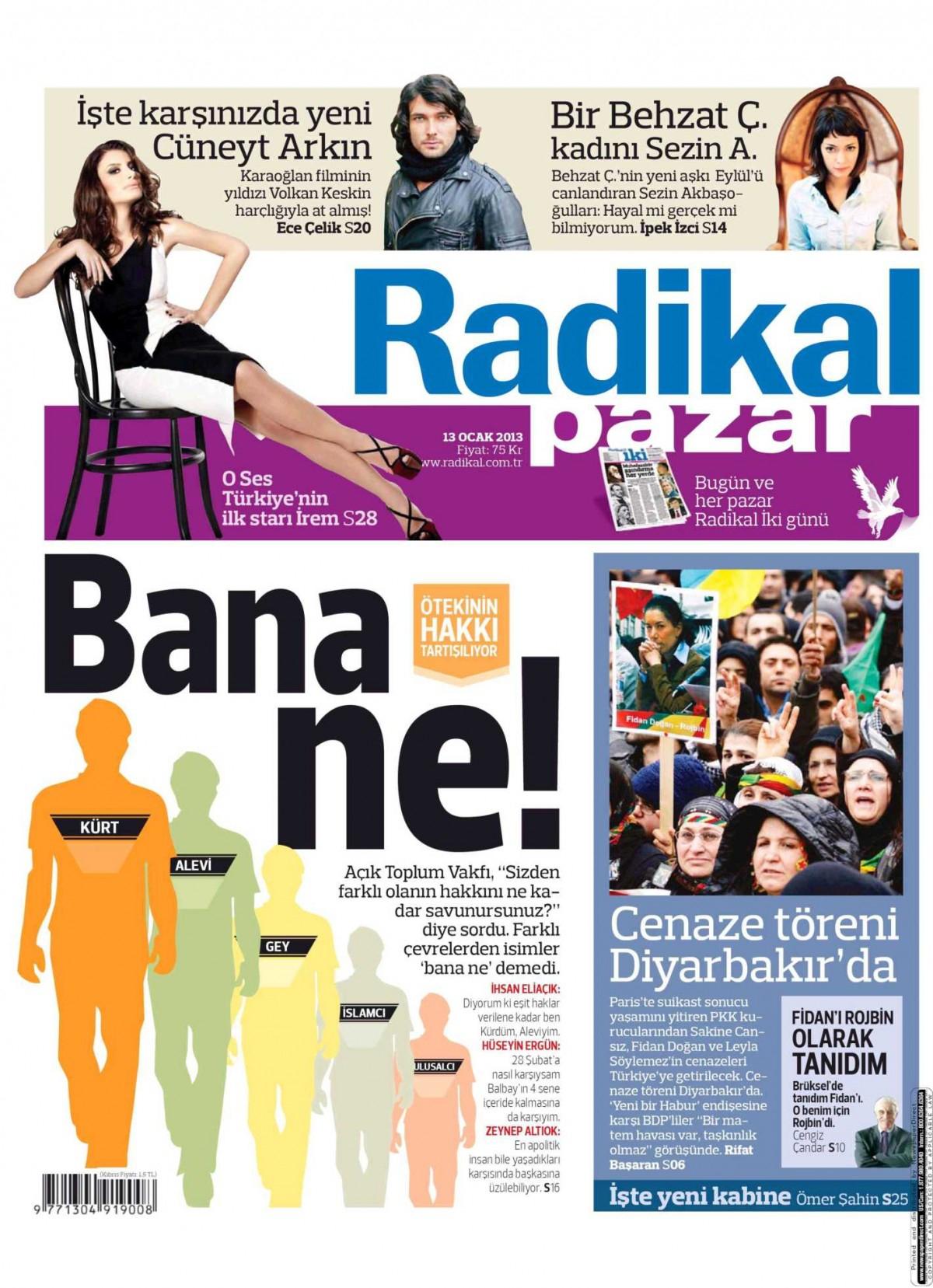 13 Ocak 2013 Tarihli Radikal Gazetesi Sayfa 1