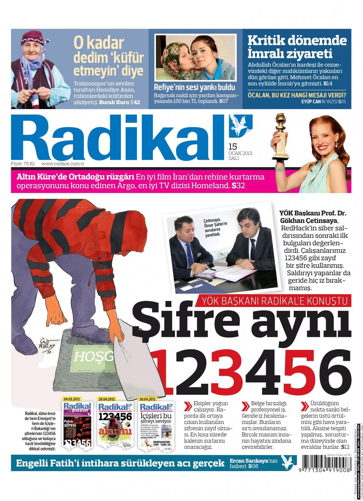 15 Ocak 2013 Tarihli Radikal Gazetesi Sayfa 1