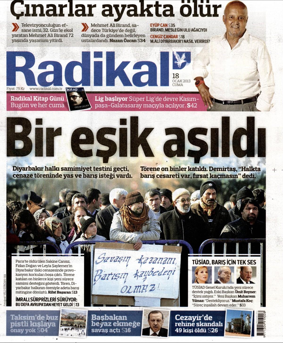 18 Ocak 2013 Tarihli Radikal Gazetesi Sayfa 1