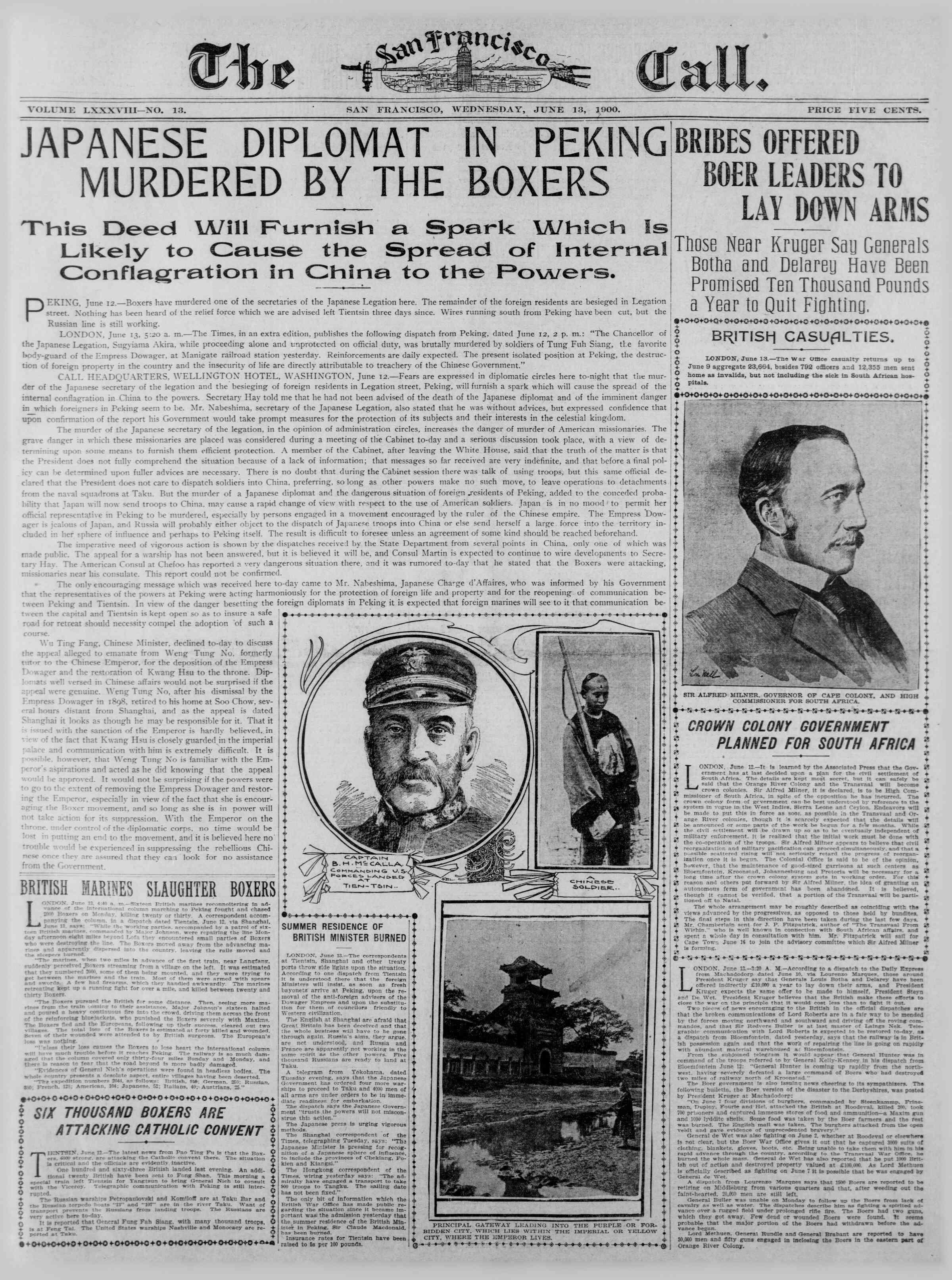 13 Haziran 1900 Tarihli The San Francisco Call Gazetesi Sayfa 1