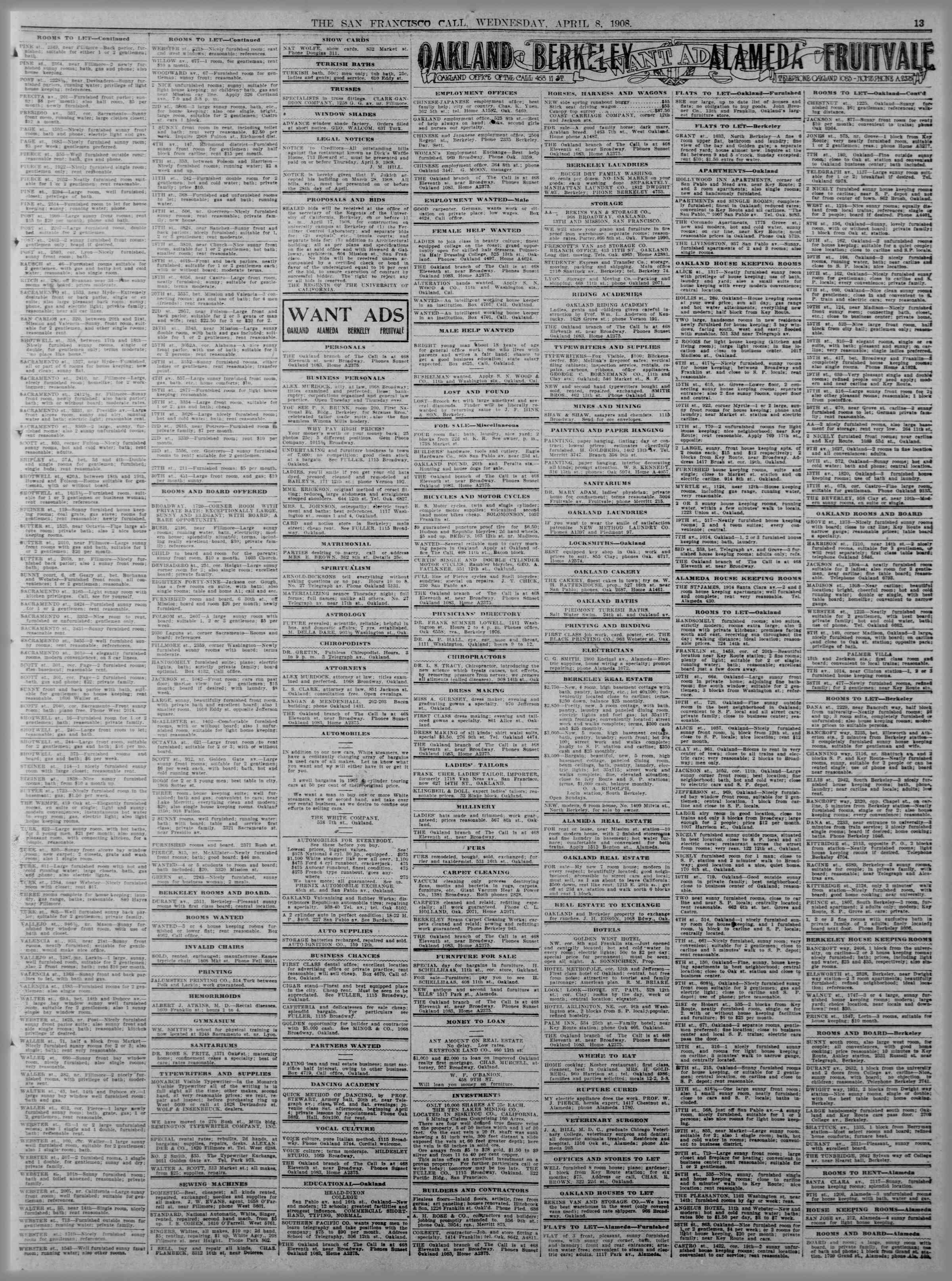 8 Nisan 1908 Tarihli The San Francisco Call Gazetesi Sayfa 13