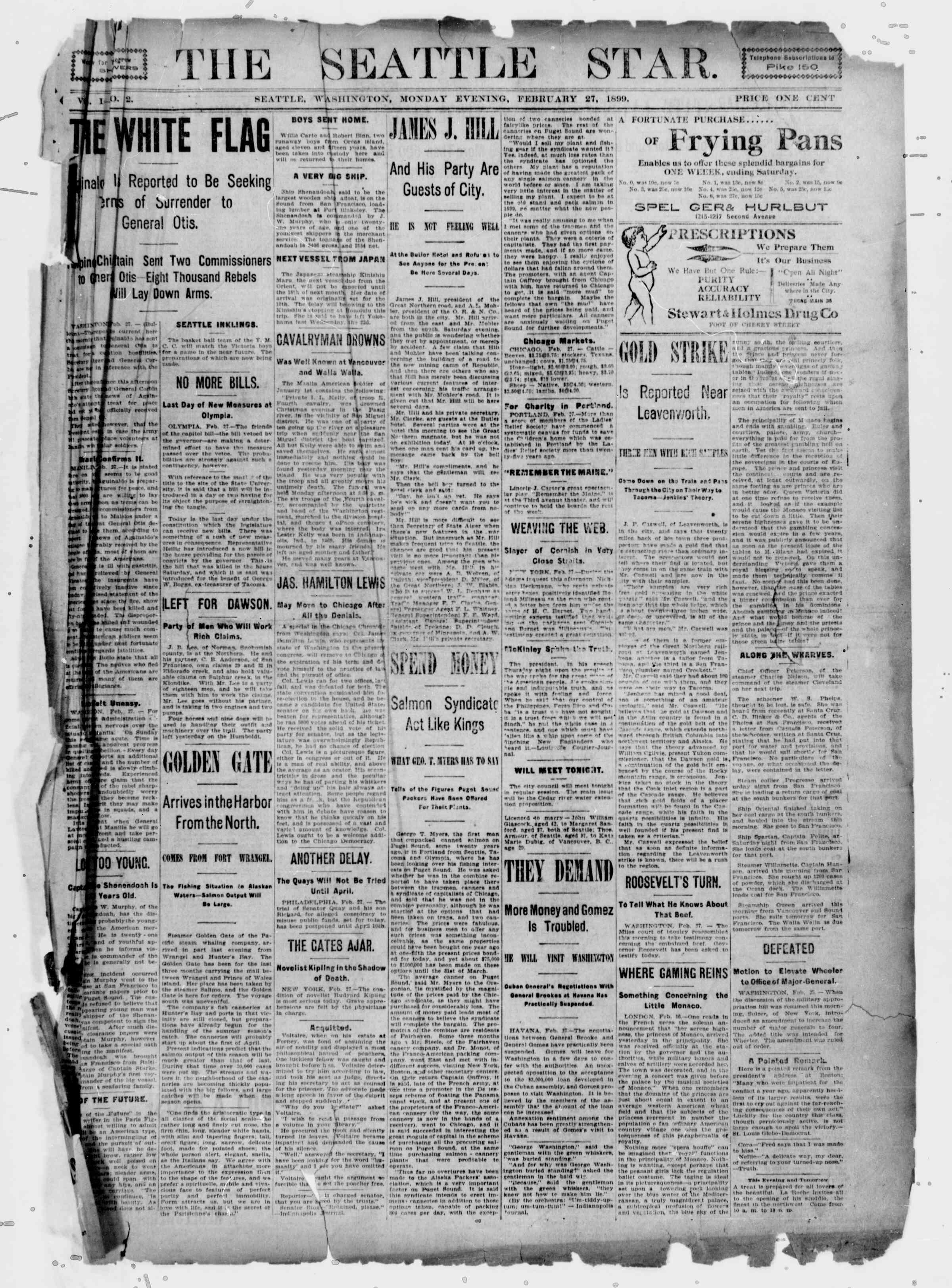 27 Şubat 1899 Tarihli Seattle Star Gazetesi Sayfa 1