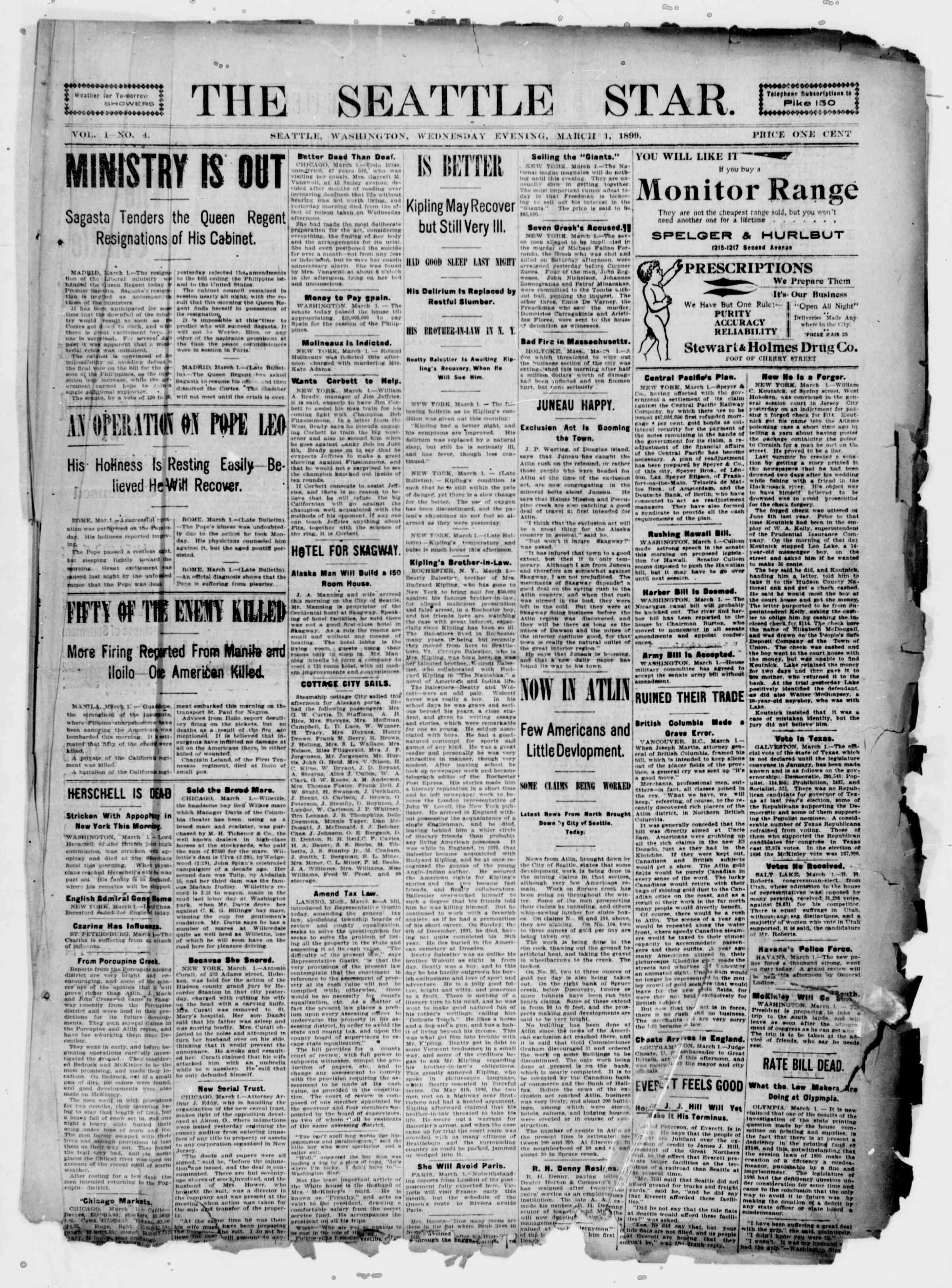 1 Mart 1899 Tarihli Seattle Star Gazetesi Sayfa 1