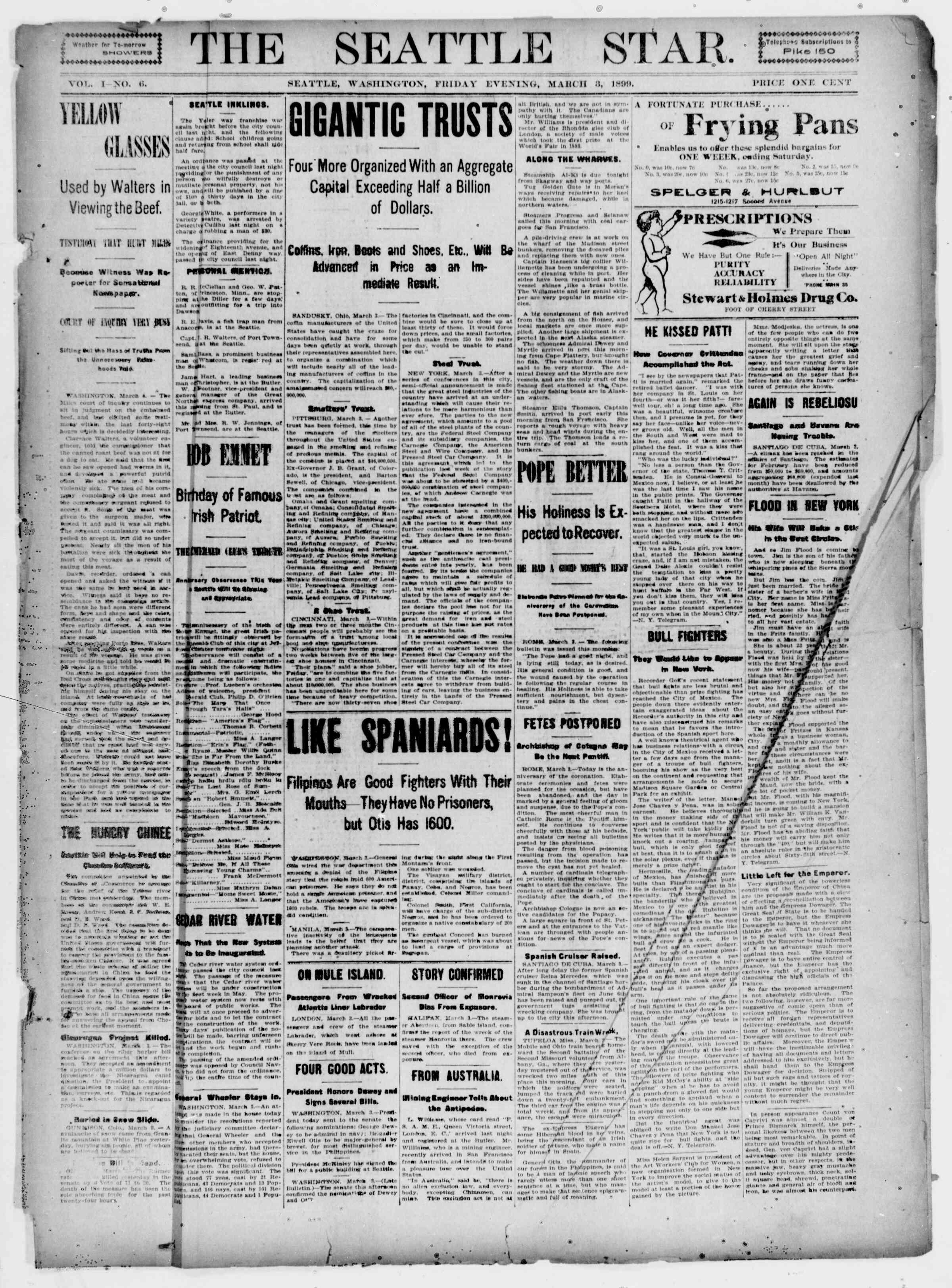 3 Mart 1899 Tarihli Seattle Star Gazetesi Sayfa 1