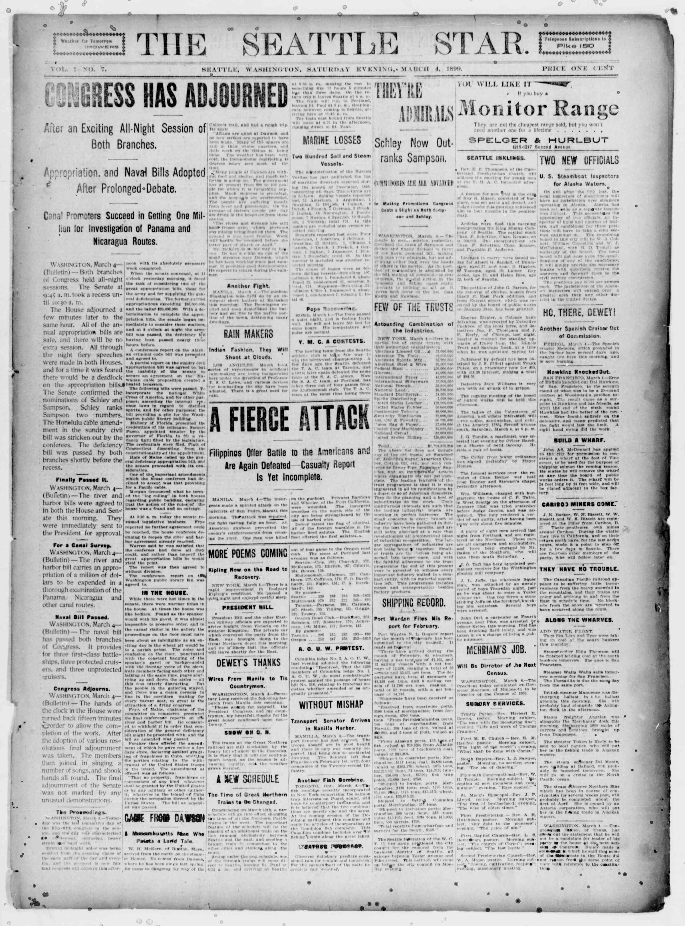 4 Mart 1899 Tarihli Seattle Star Gazetesi Sayfa 1