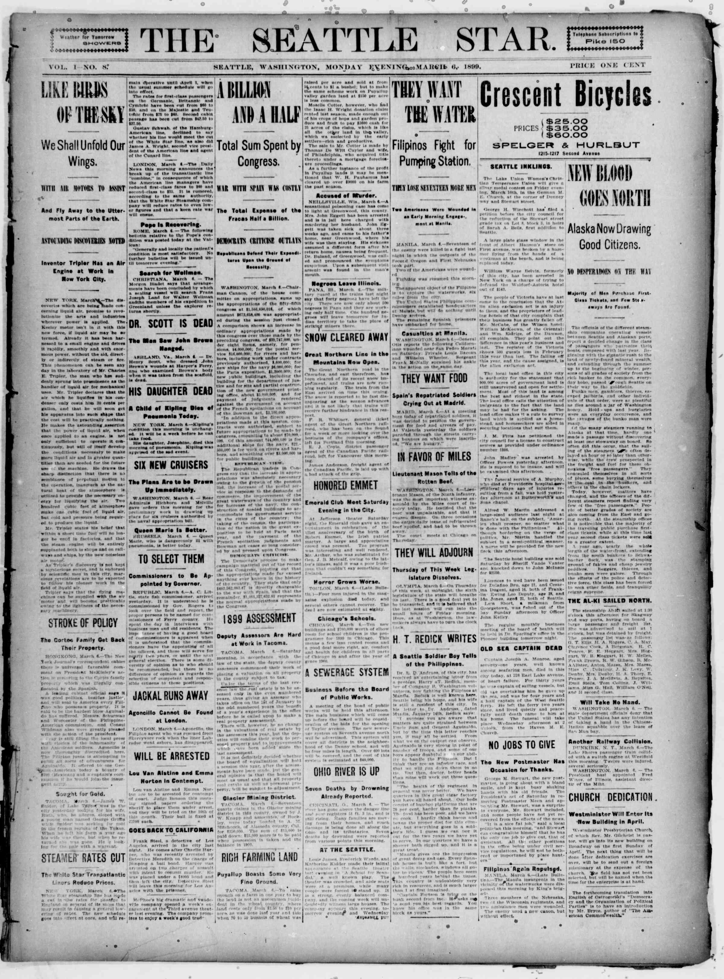 6 Mart 1899 Tarihli Seattle Star Gazetesi Sayfa 1