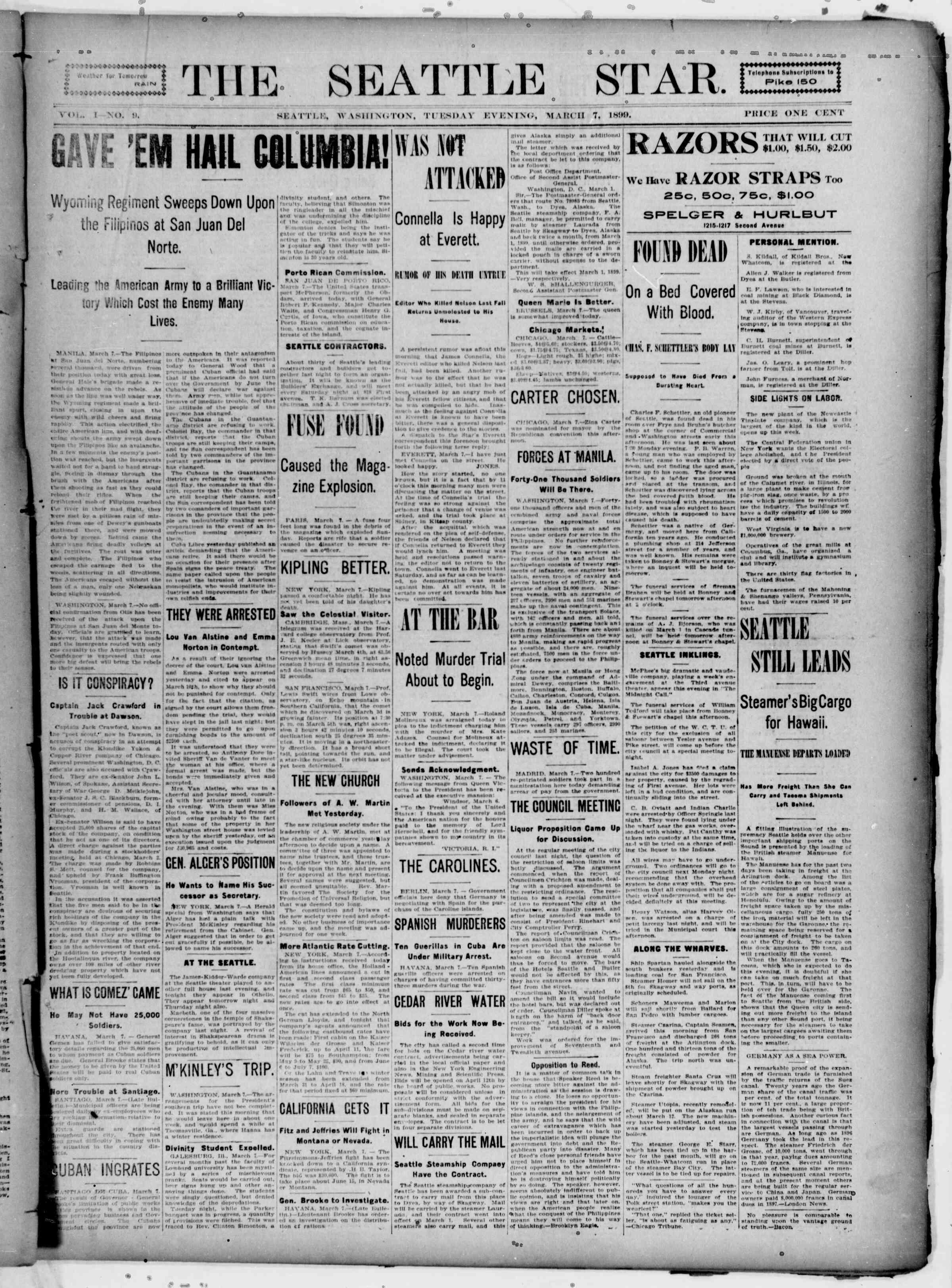 7 Mart 1899 Tarihli Seattle Star Gazetesi Sayfa 1