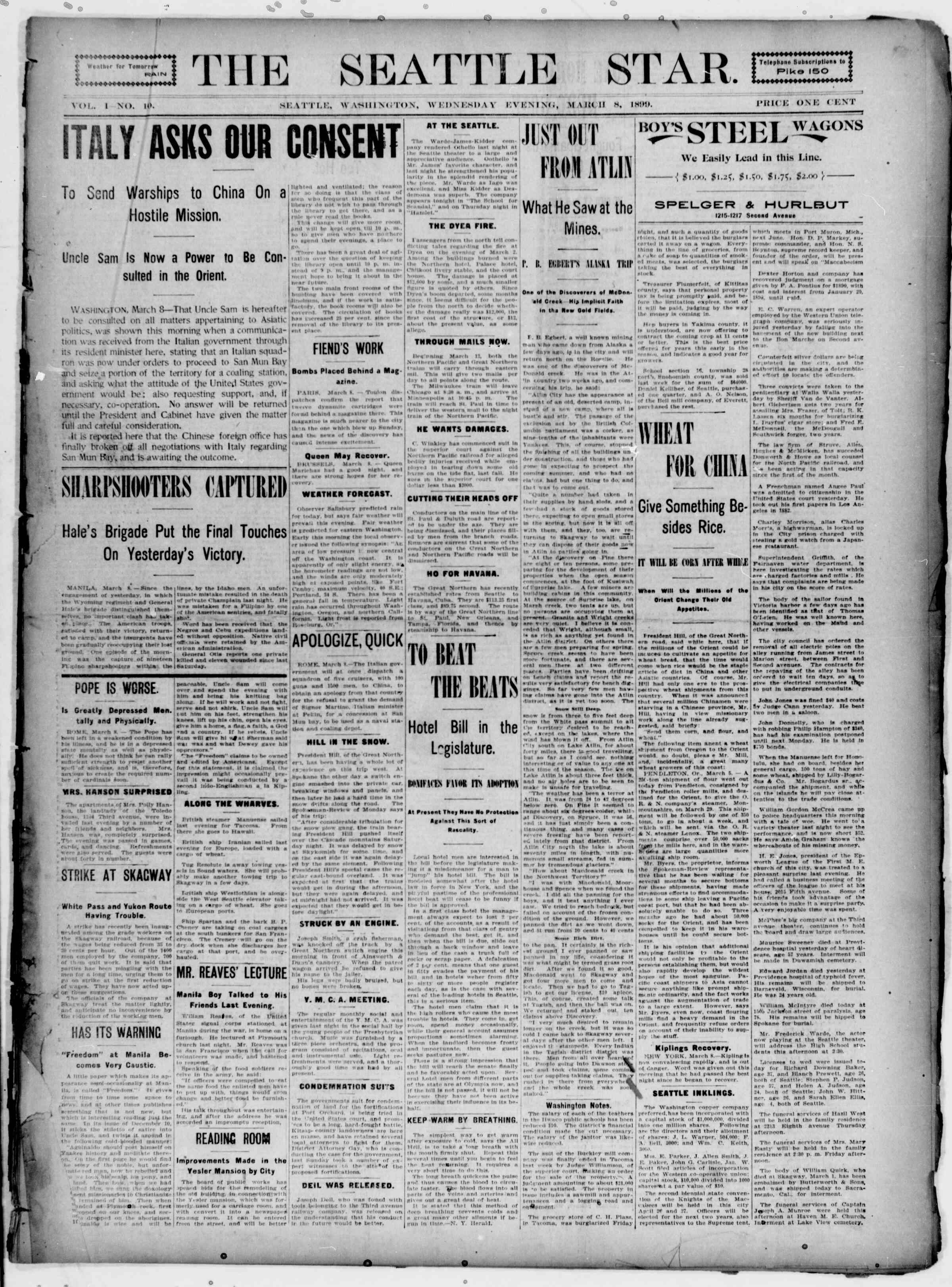 March 8, 1899 Tarihli Seattle Star Gazetesi Sayfa 1