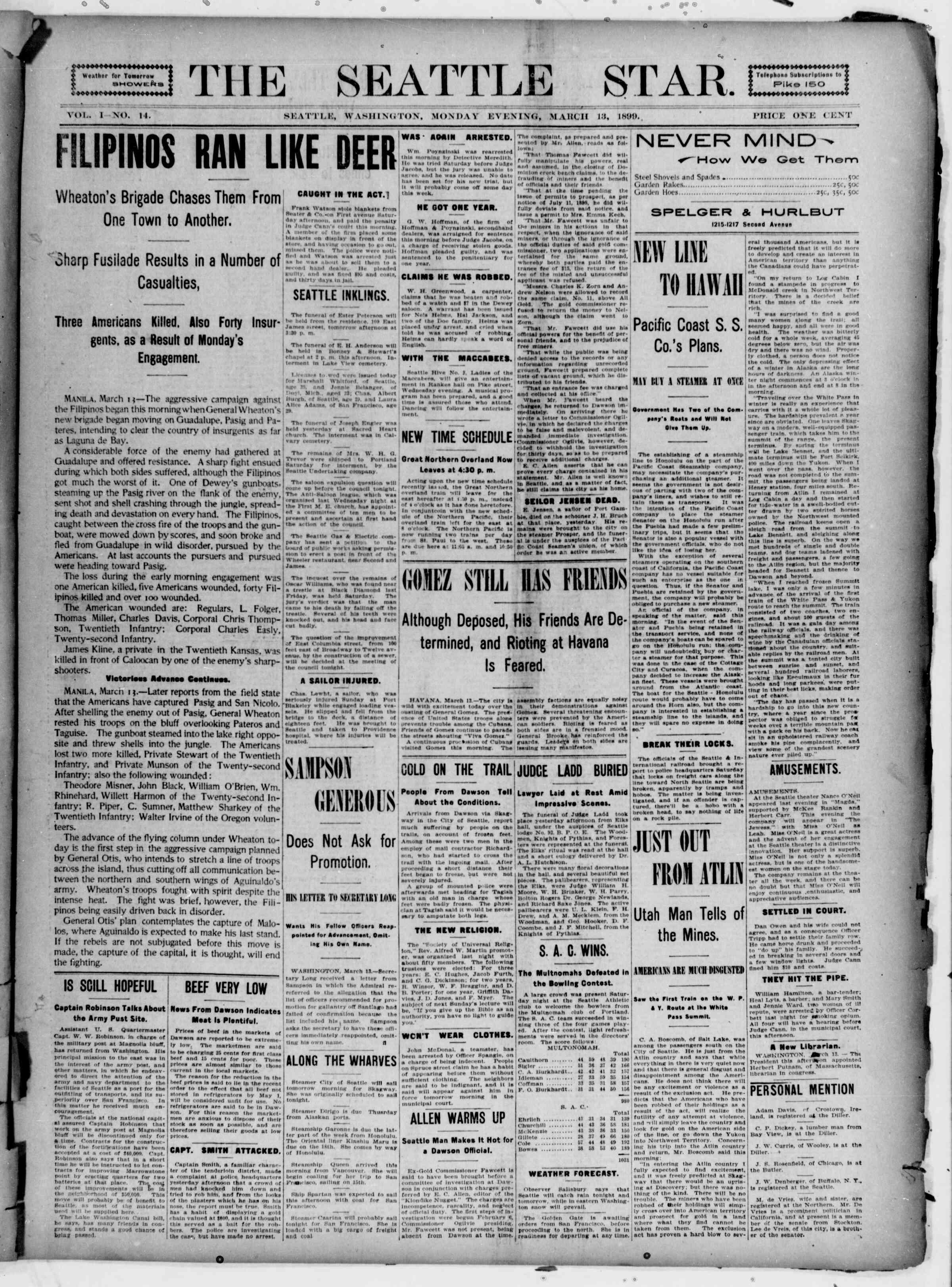 13 Mart 1899 Tarihli Seattle Star Gazetesi Sayfa 1