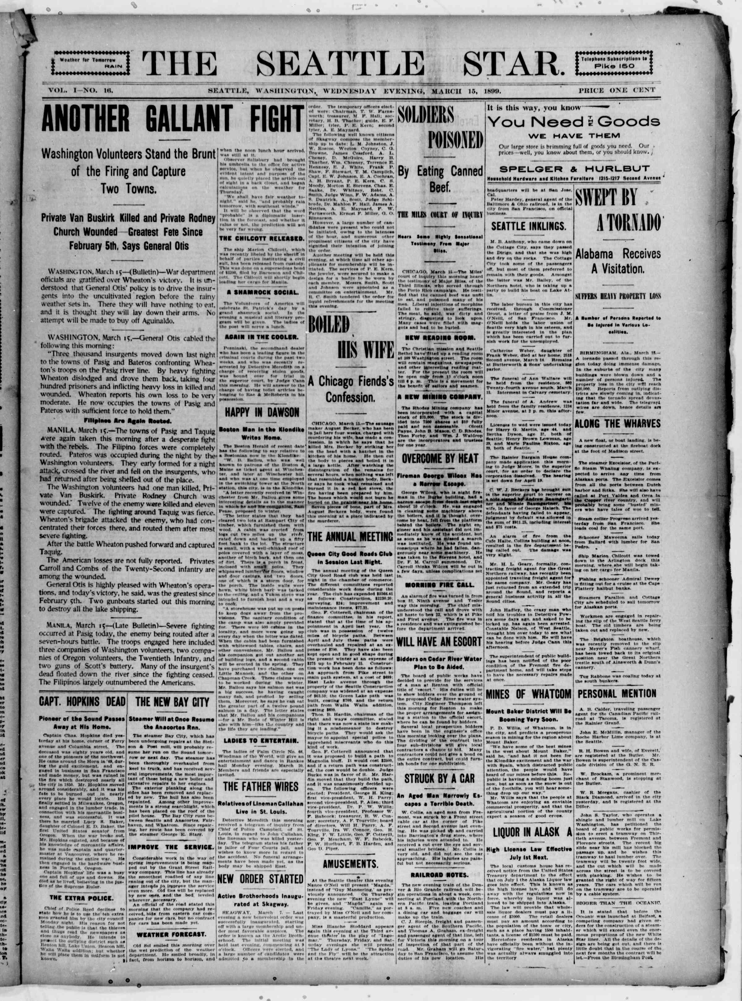 15 Mart 1899 Tarihli Seattle Star Gazetesi Sayfa 1