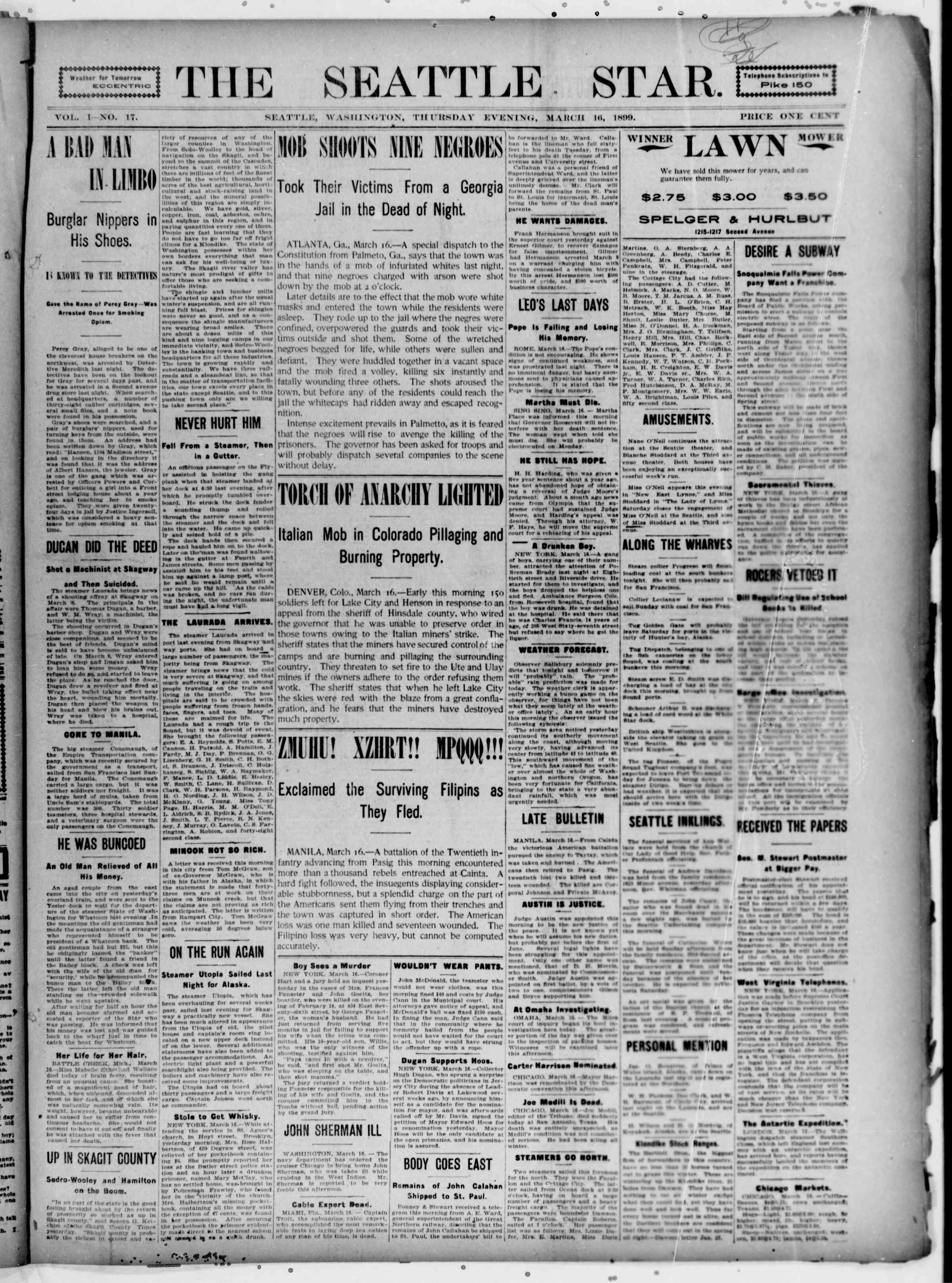 16 Mart 1899 Tarihli Seattle Star Gazetesi Sayfa 1
